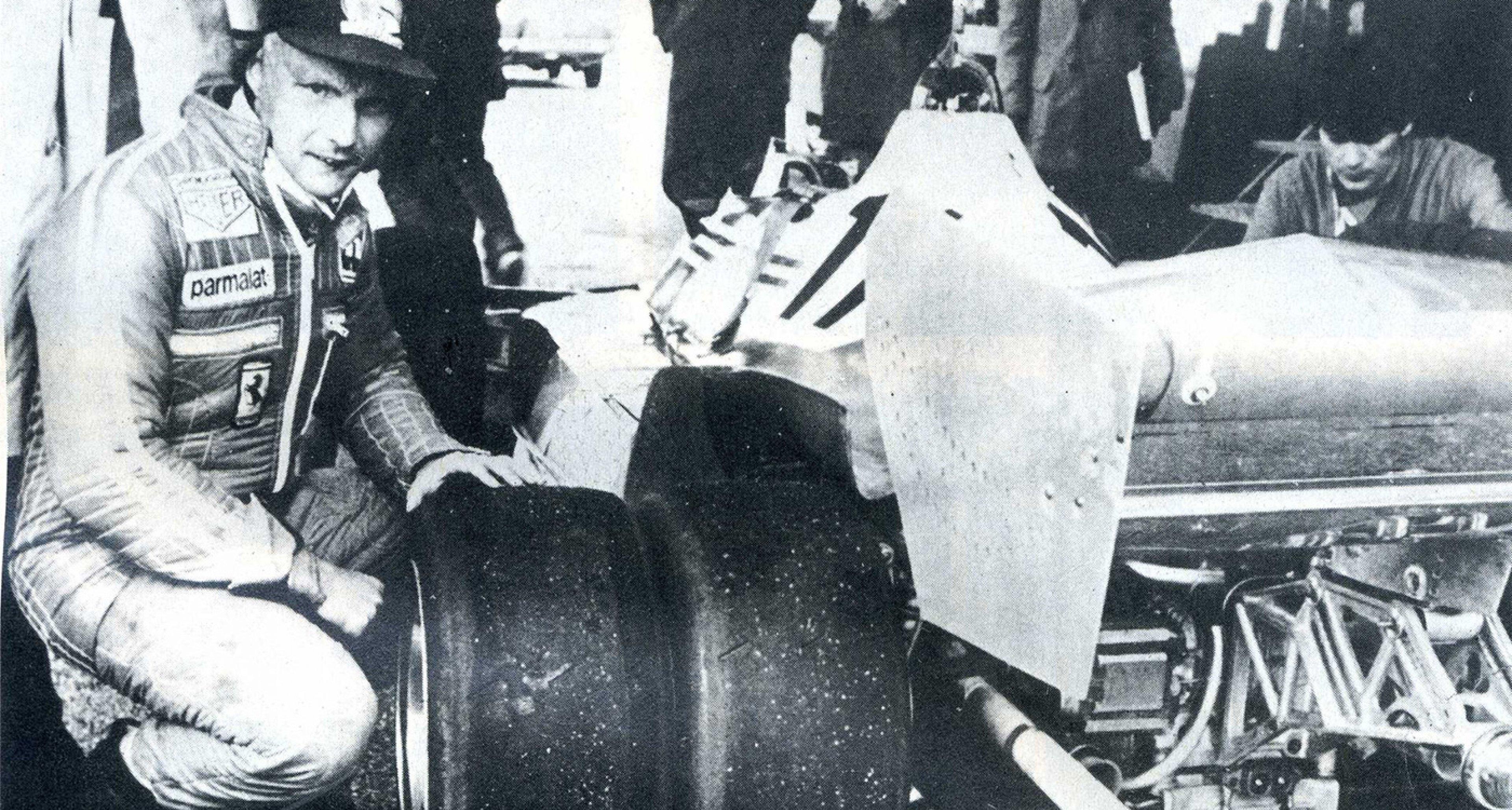 Niki Lauda with the experimental Ferrari 312 T6