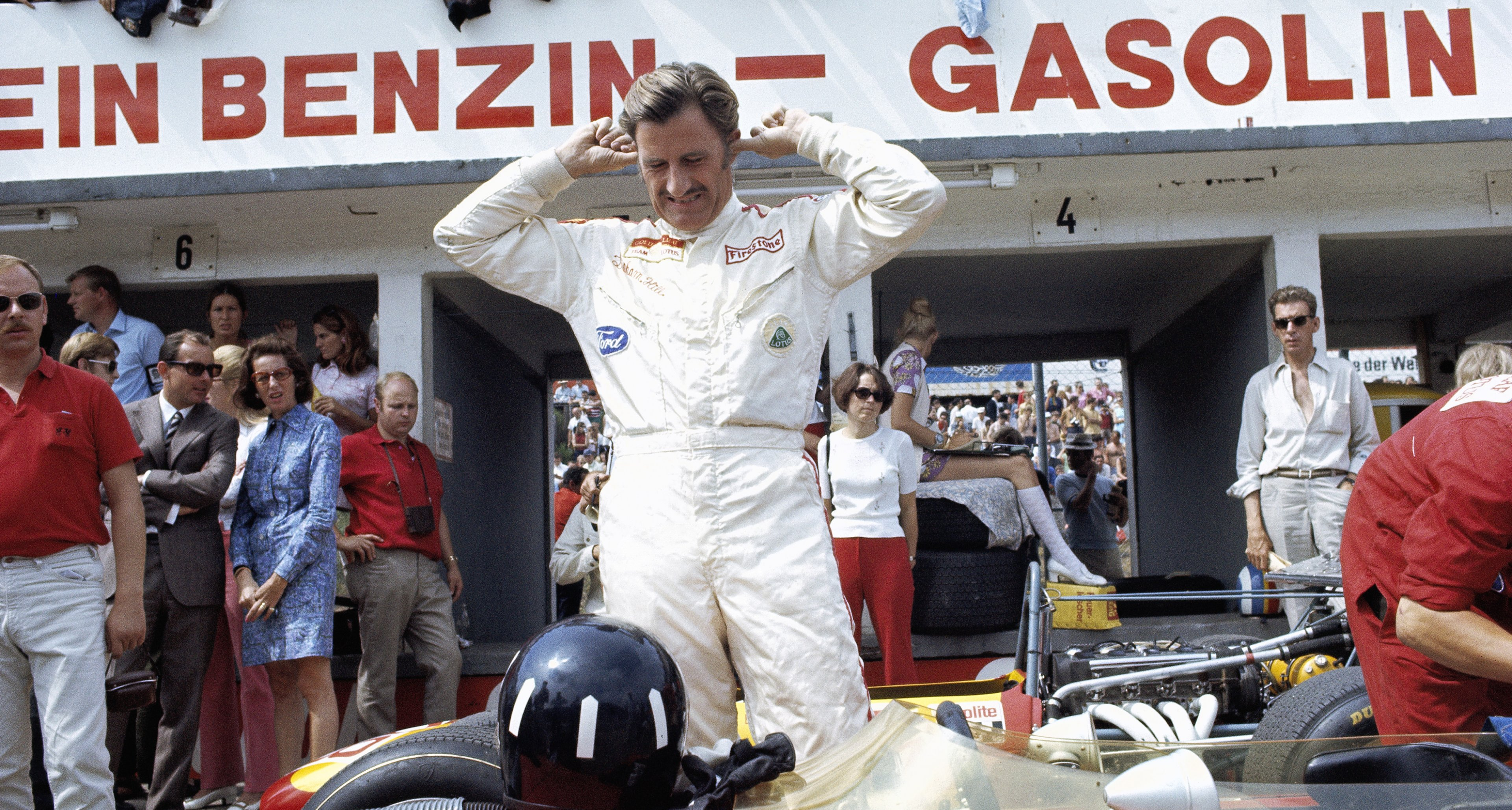 Lotus driver Graham Hill prepares himself for the race, Nuerburgring, Germany, 03 August 1969.