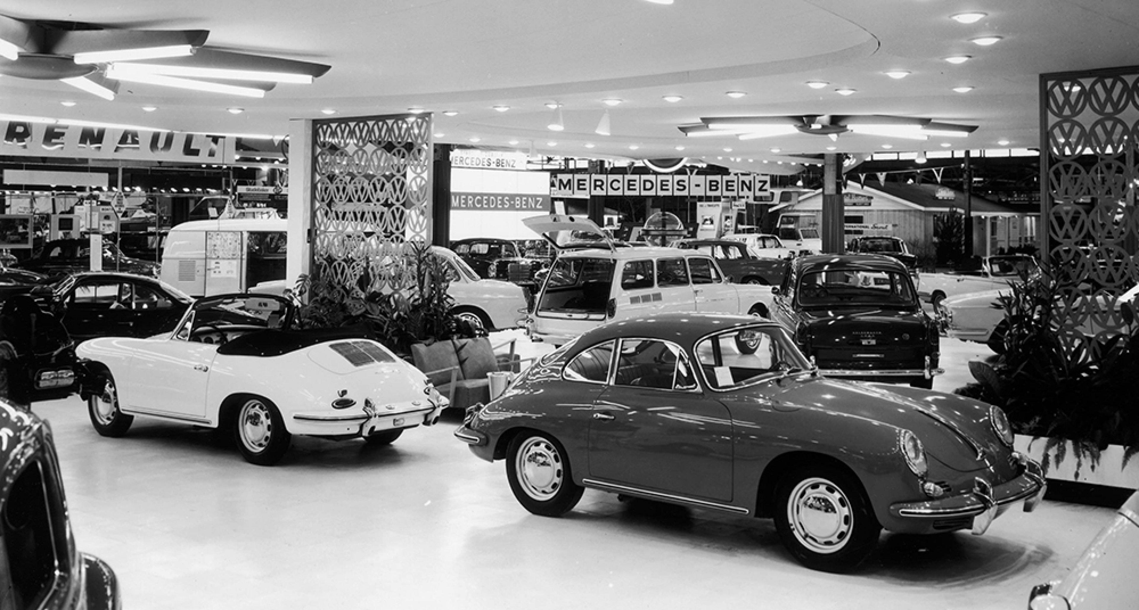 Porsche's 1964 range at a US motor show.