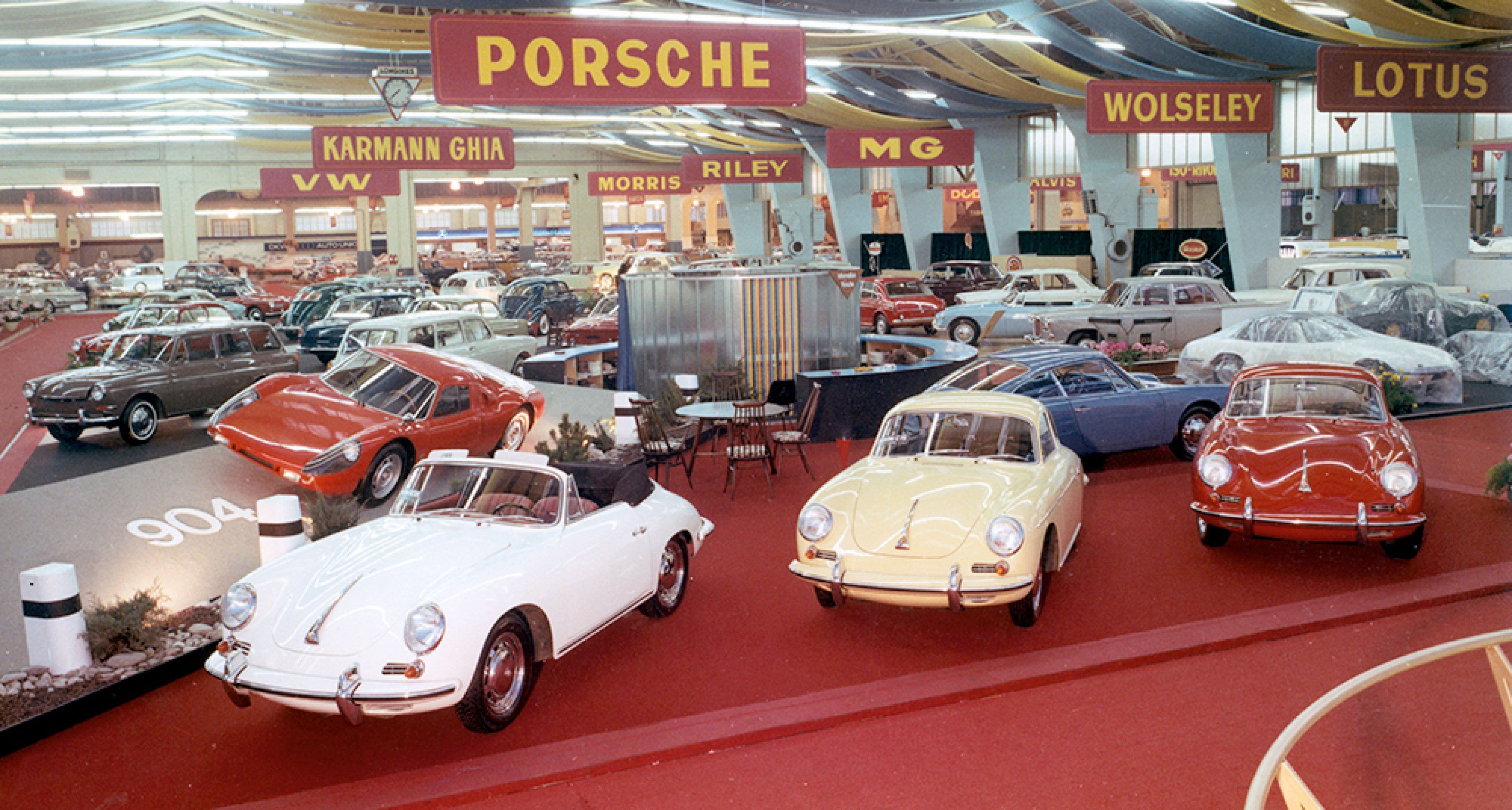 Porsche's 1964 range at the Geneva Motor Show - 356 C, 904 and 901-6 Prototype.