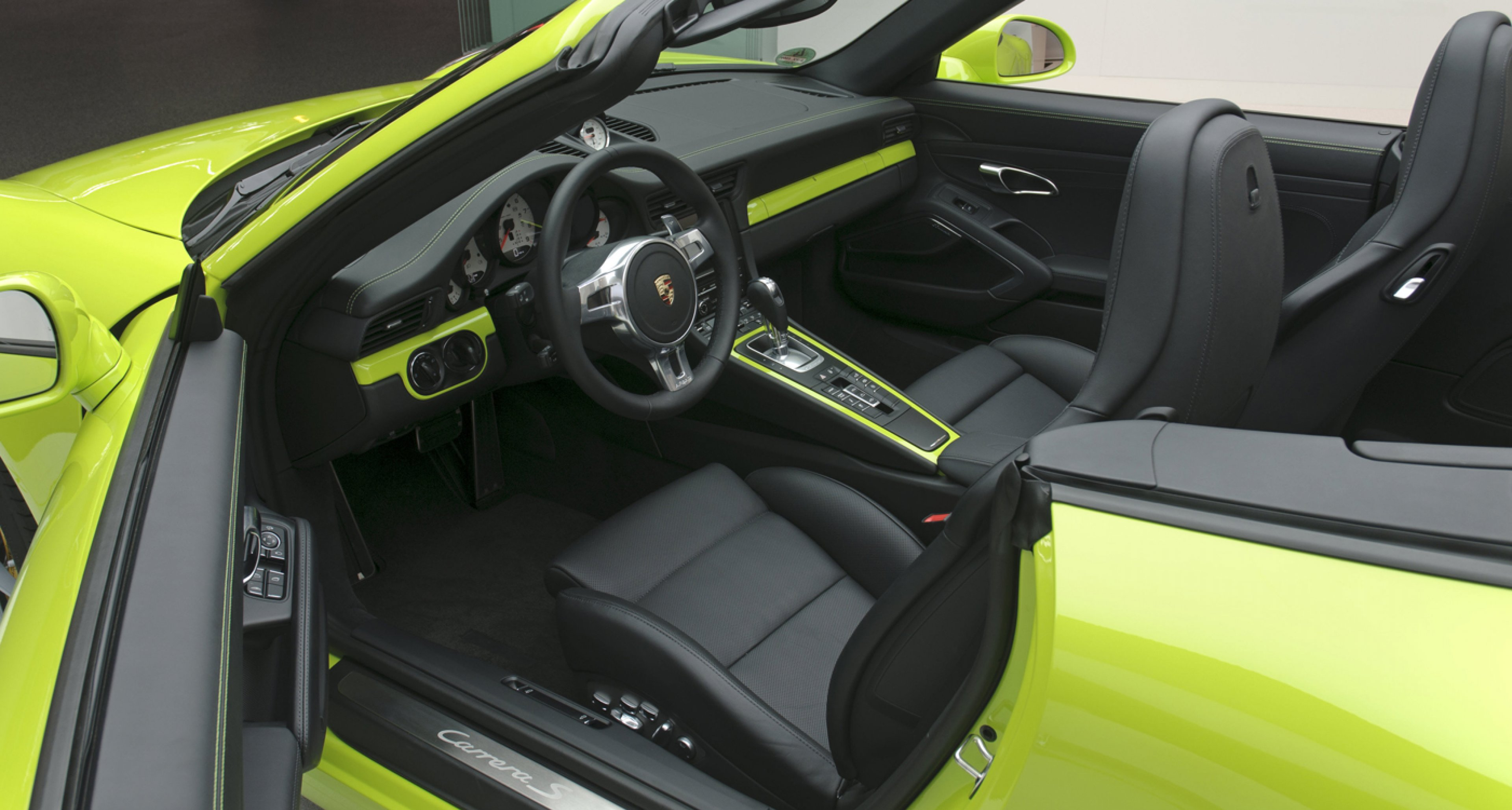 "Acid-green interior of a 2013 Porsche 911 Carrera S 3,8 ""60 Jahre Porsche Clubs""."
