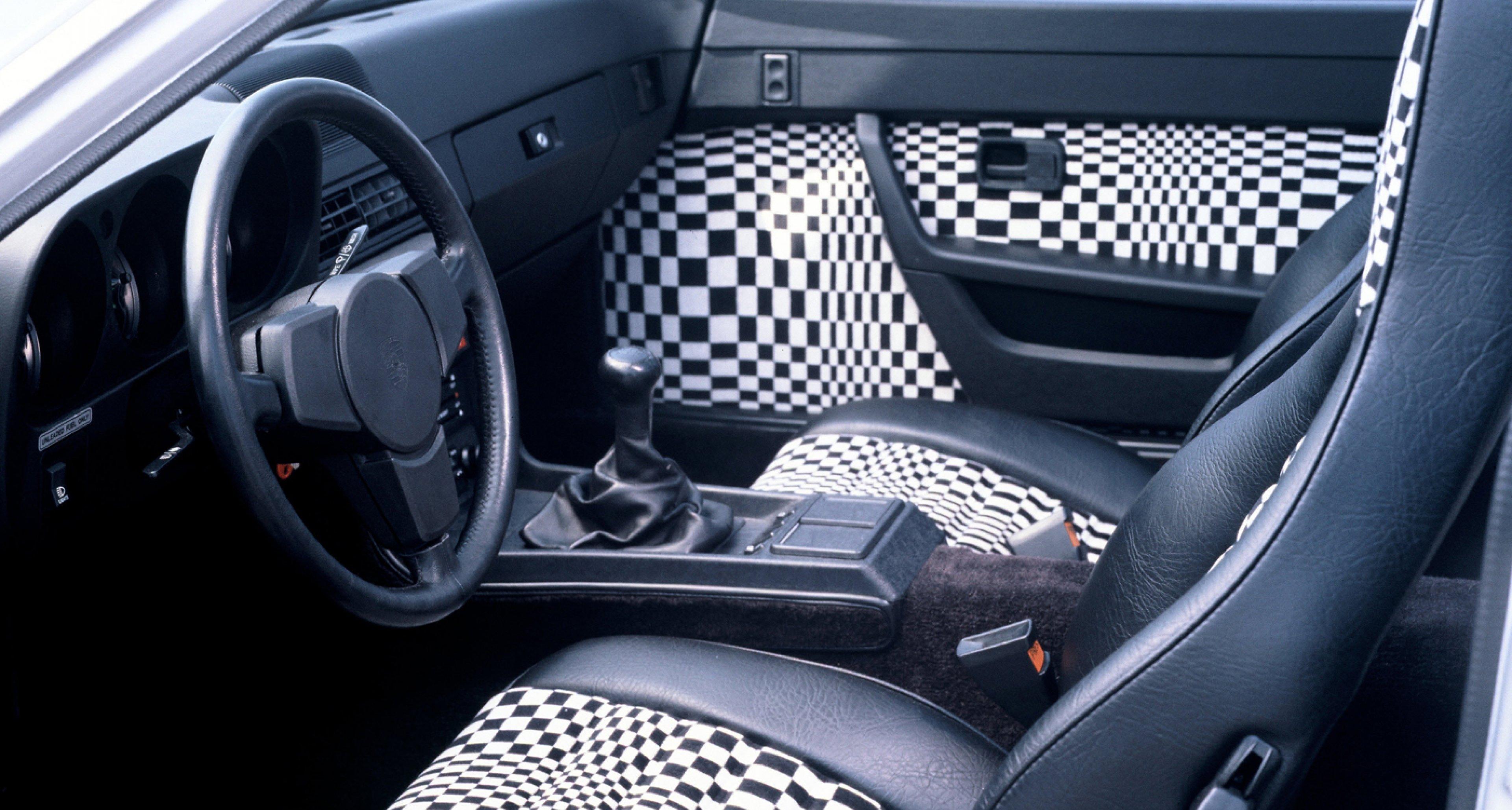 Op-art style 'Pascha' seats in a 1979 Porsche 924.