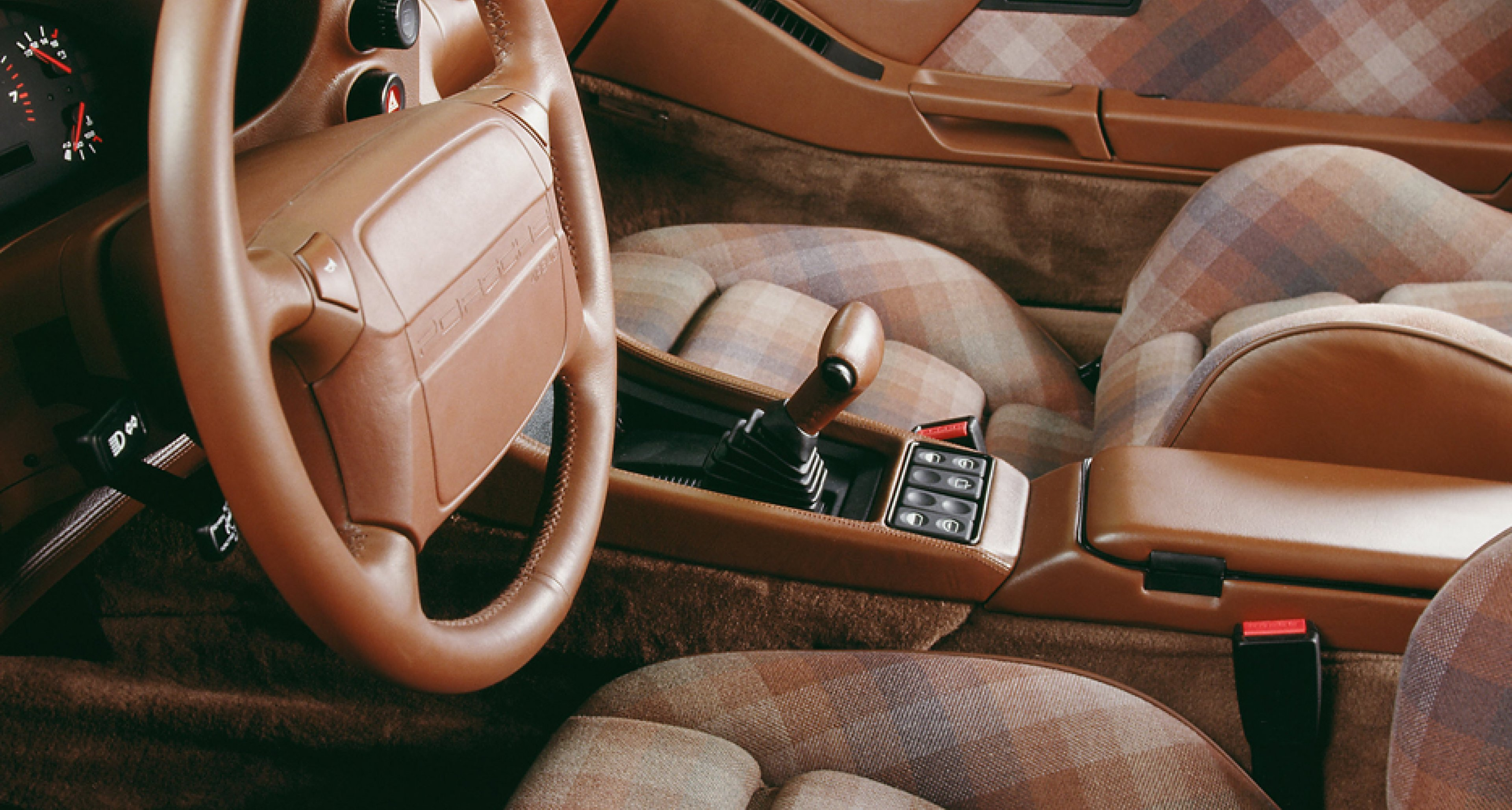Seventies-style seats in a 1991 Porsche 928 S4.