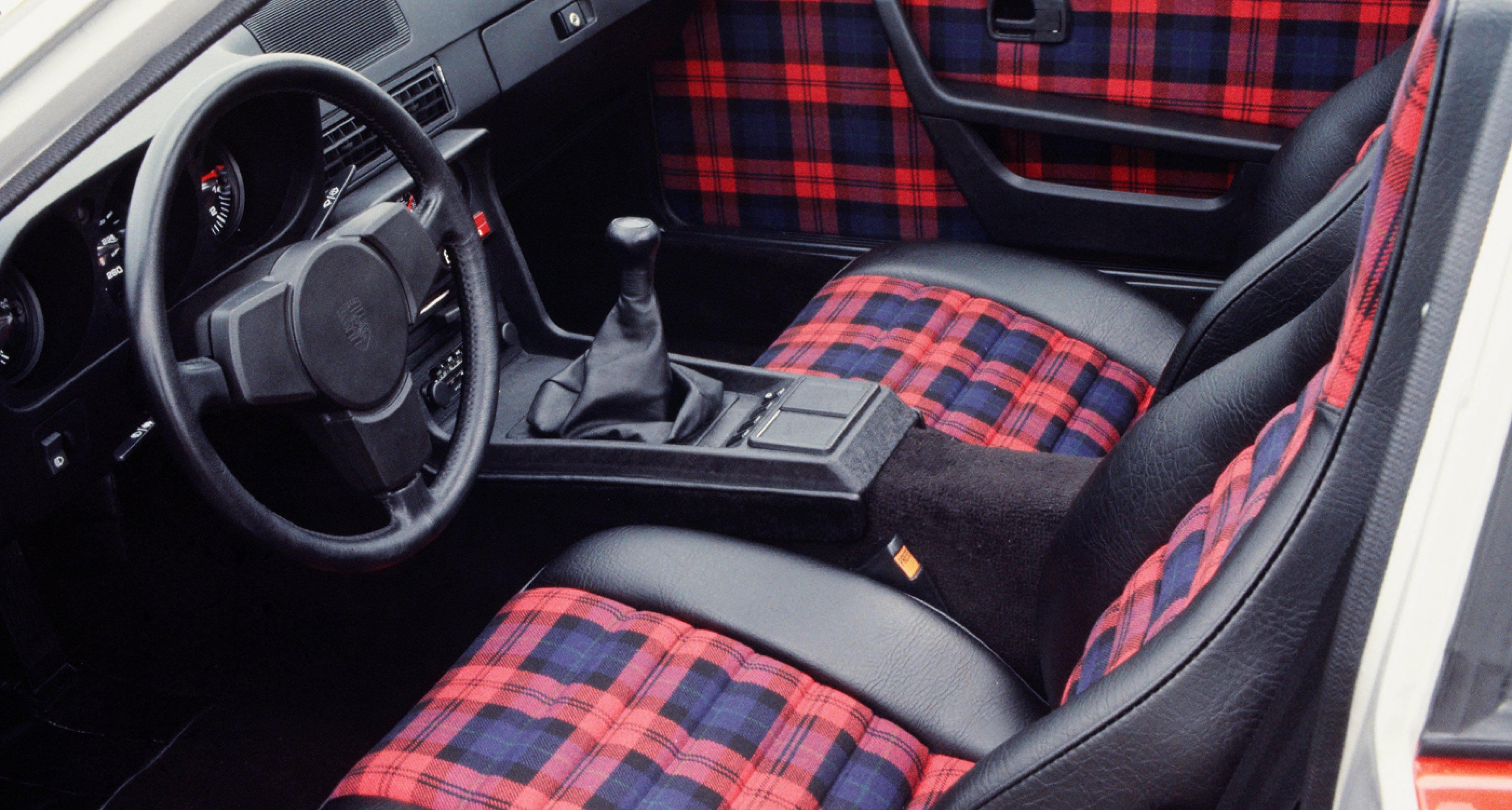 Tartan seats in a 1979 Porsche 924 Turbo.