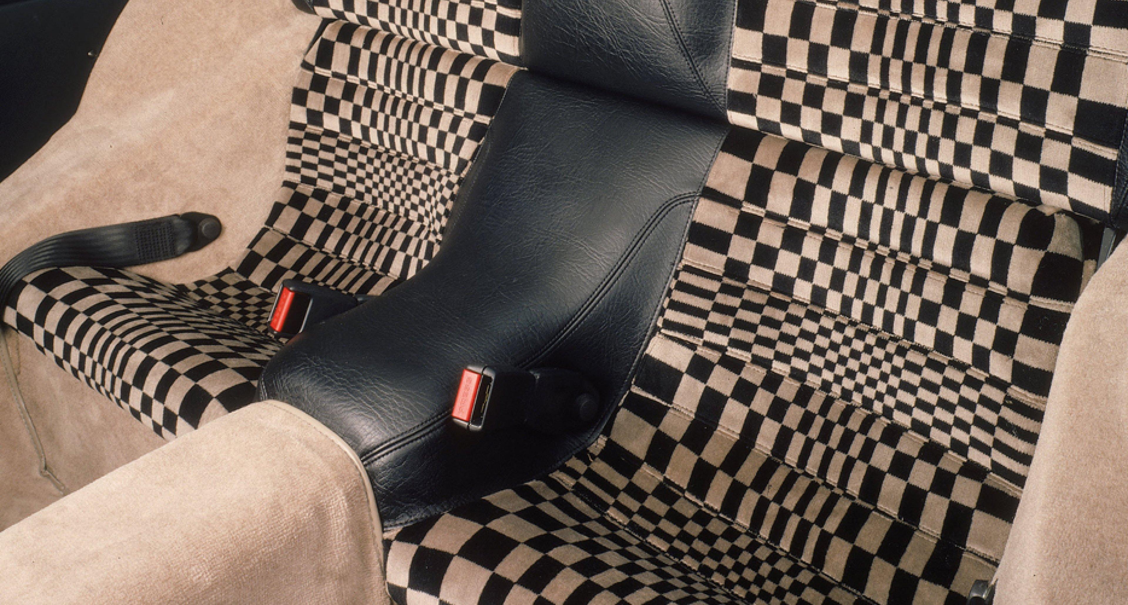Op-art style 'Pascha' seats in a 1983 Porsche 924.
