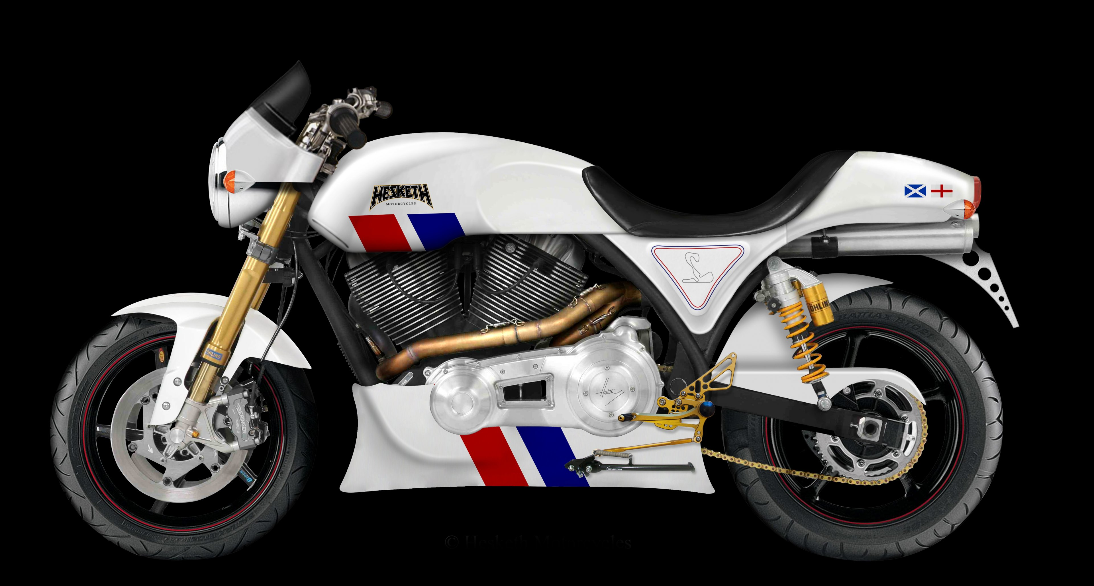 Hesketh Motorcycle's new '24', with styling inspired by James Hunt's Grand Prix-winning car