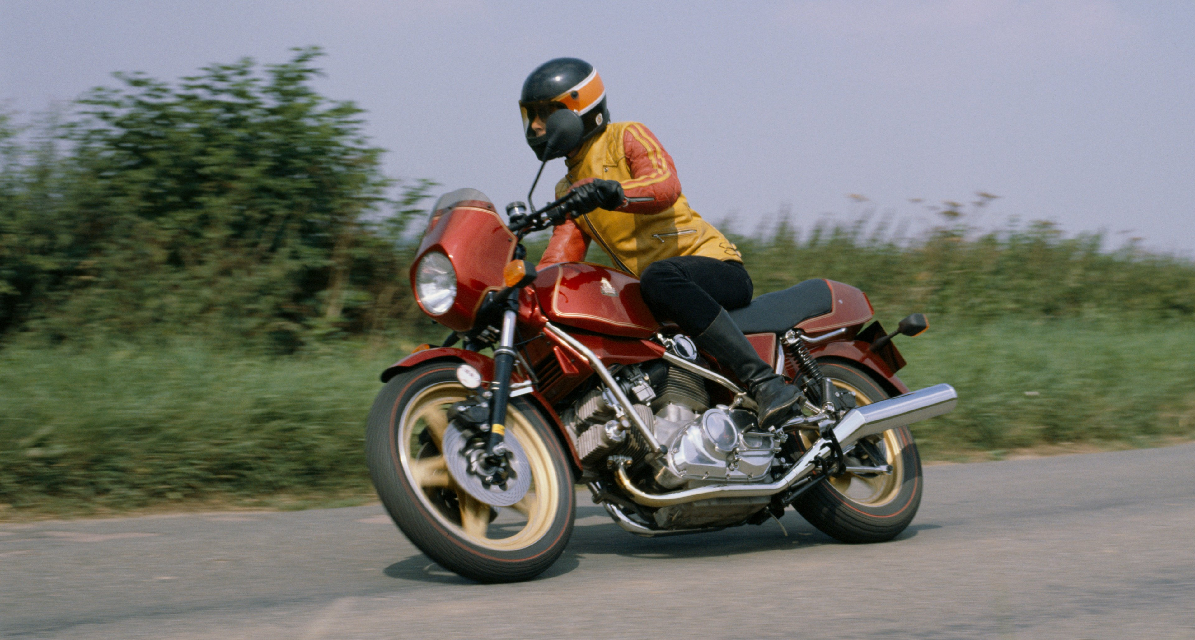 A rider tests his Hesketh V1000 in 1981