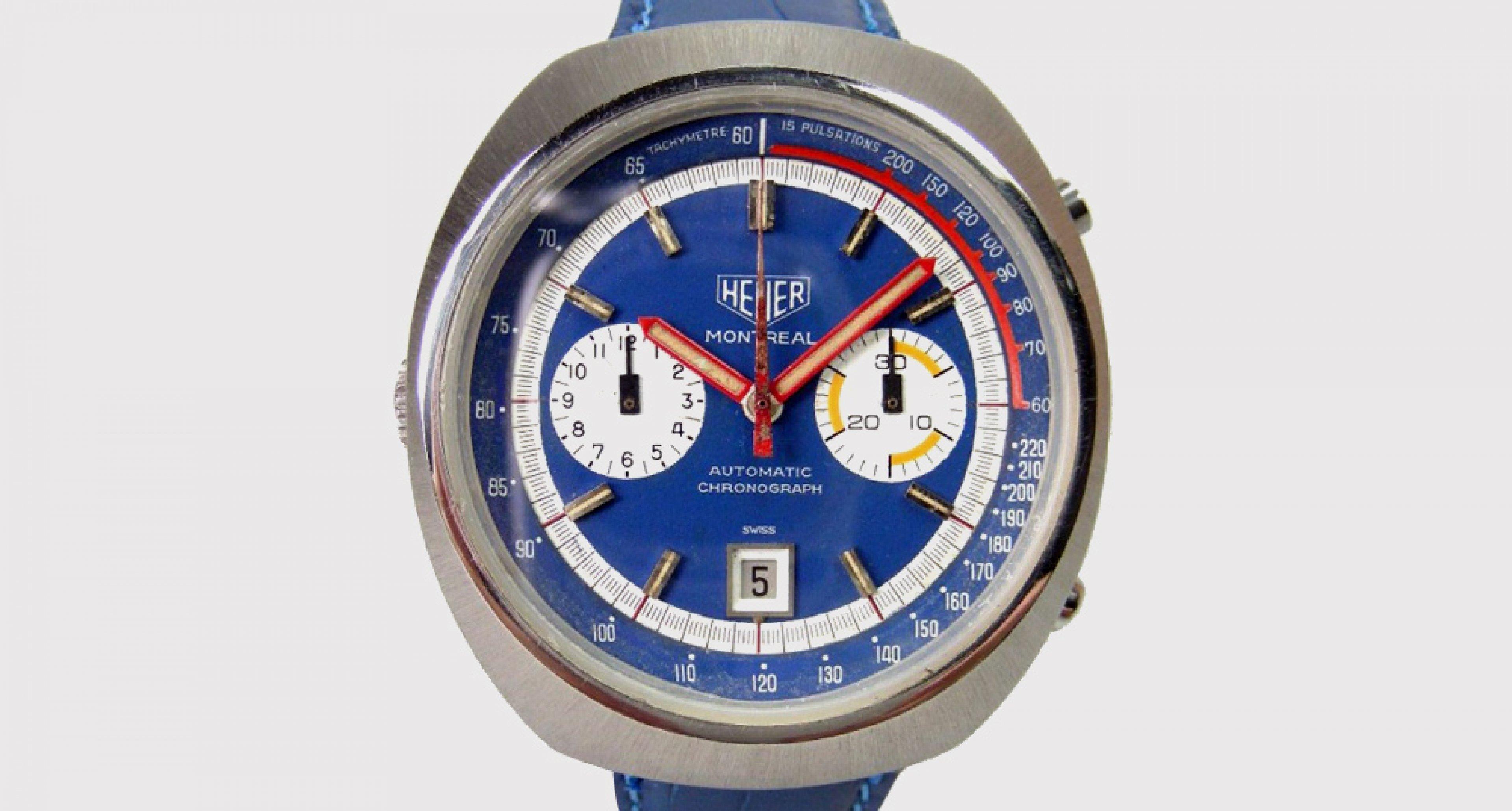 Heuer - Montréal chronographe cadran bleu deux compteurs