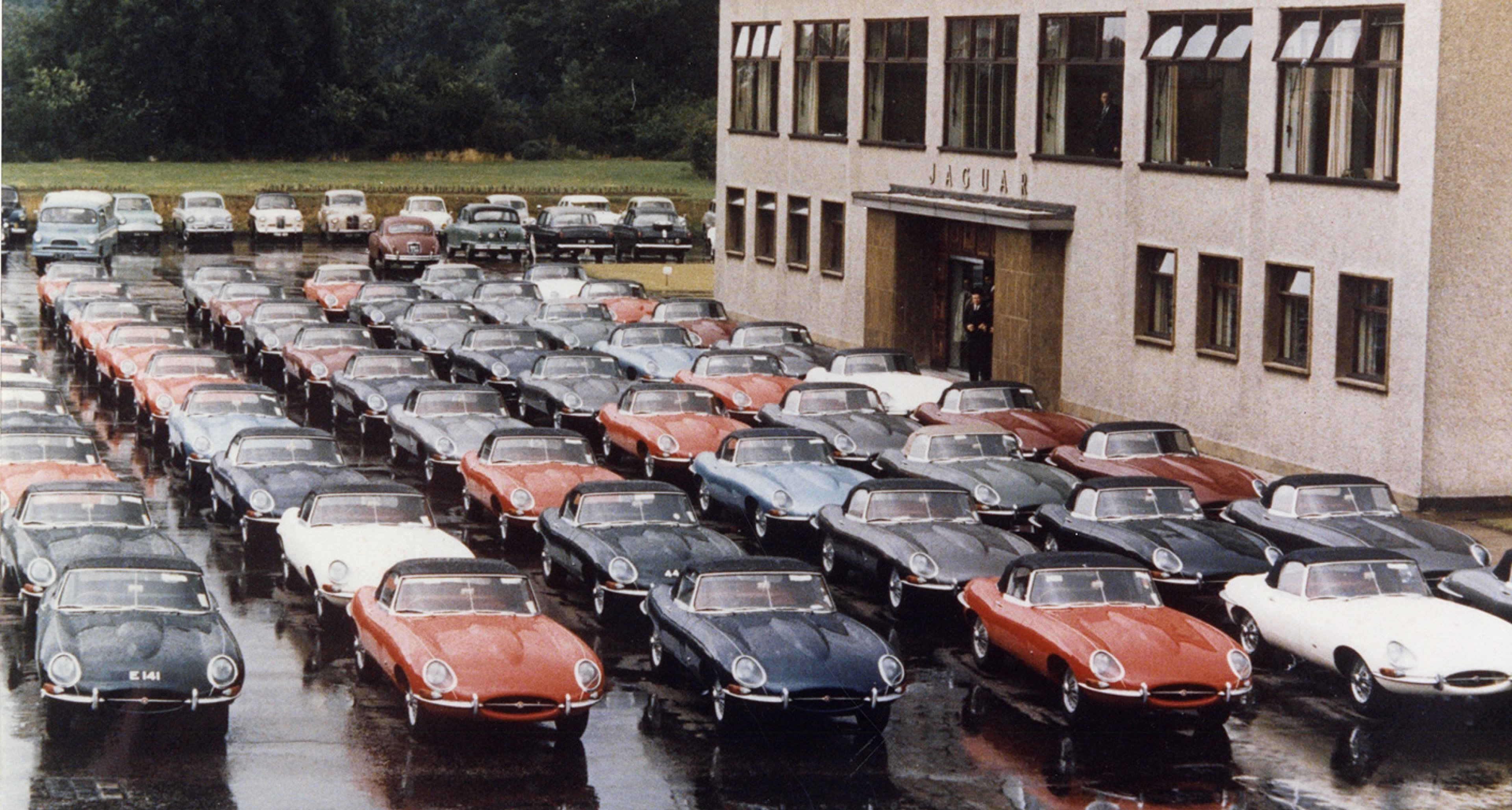 E-types lined up outside Jaguar's factory in Coventry