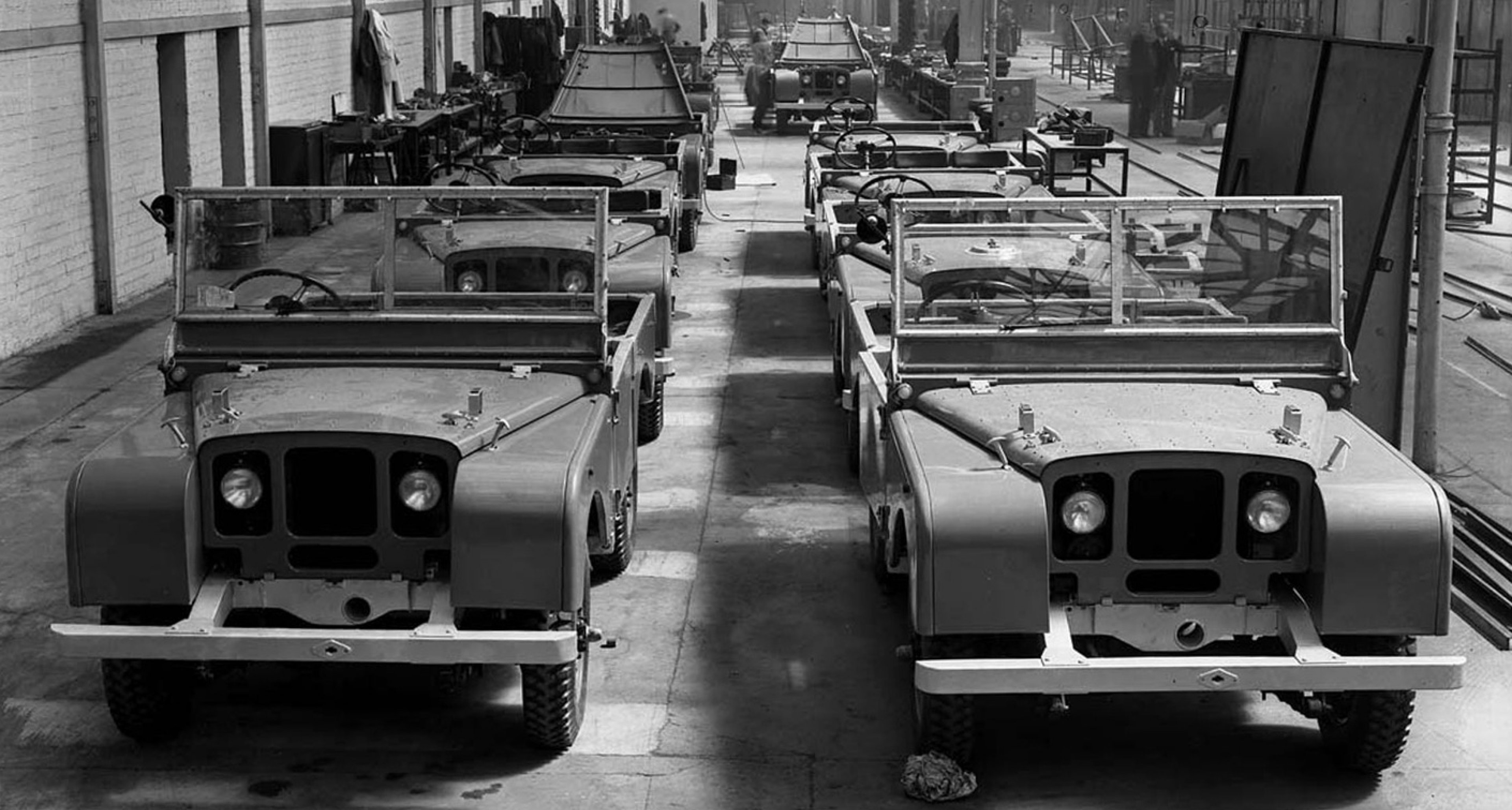 Series 1s aplenty at the Land Rover plant