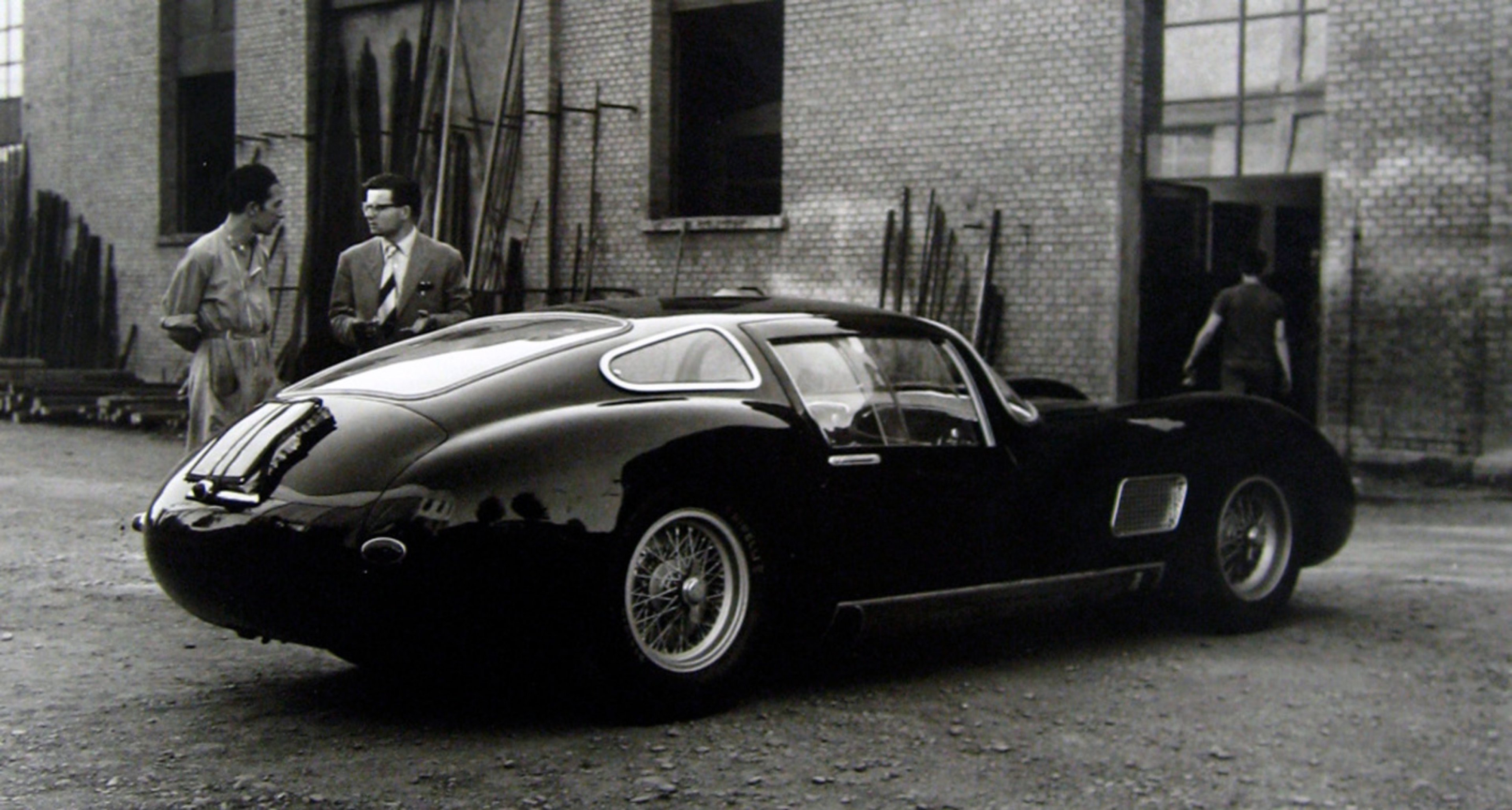 A beautiful Maserati outside the factory long before the Citroën takeover