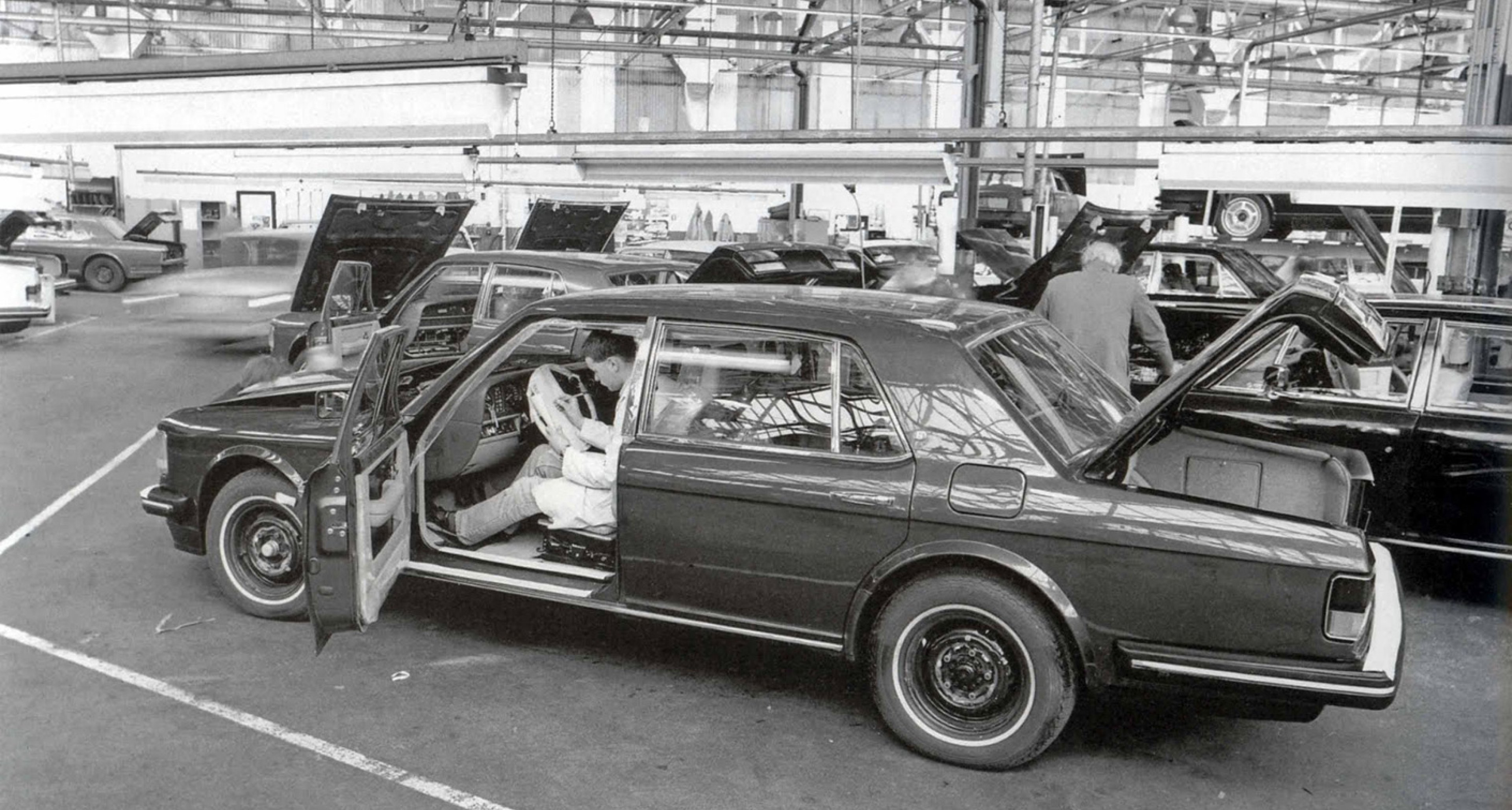 A Bentley Turbo undergoing testing at Crewe