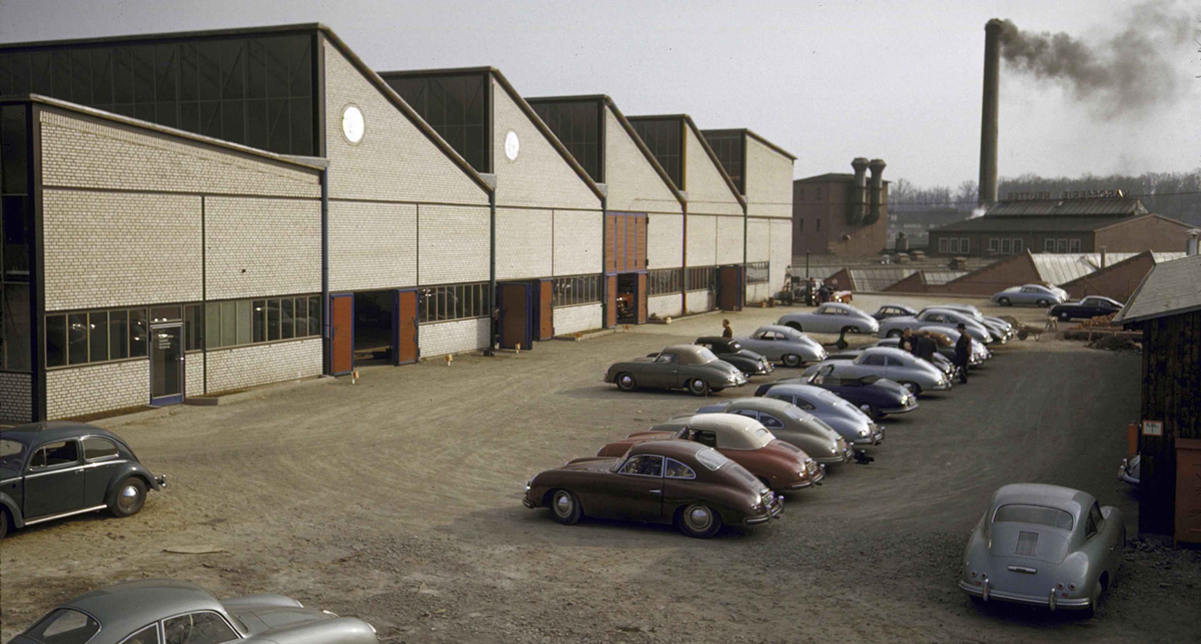 356s line up outside Porsche HQ
