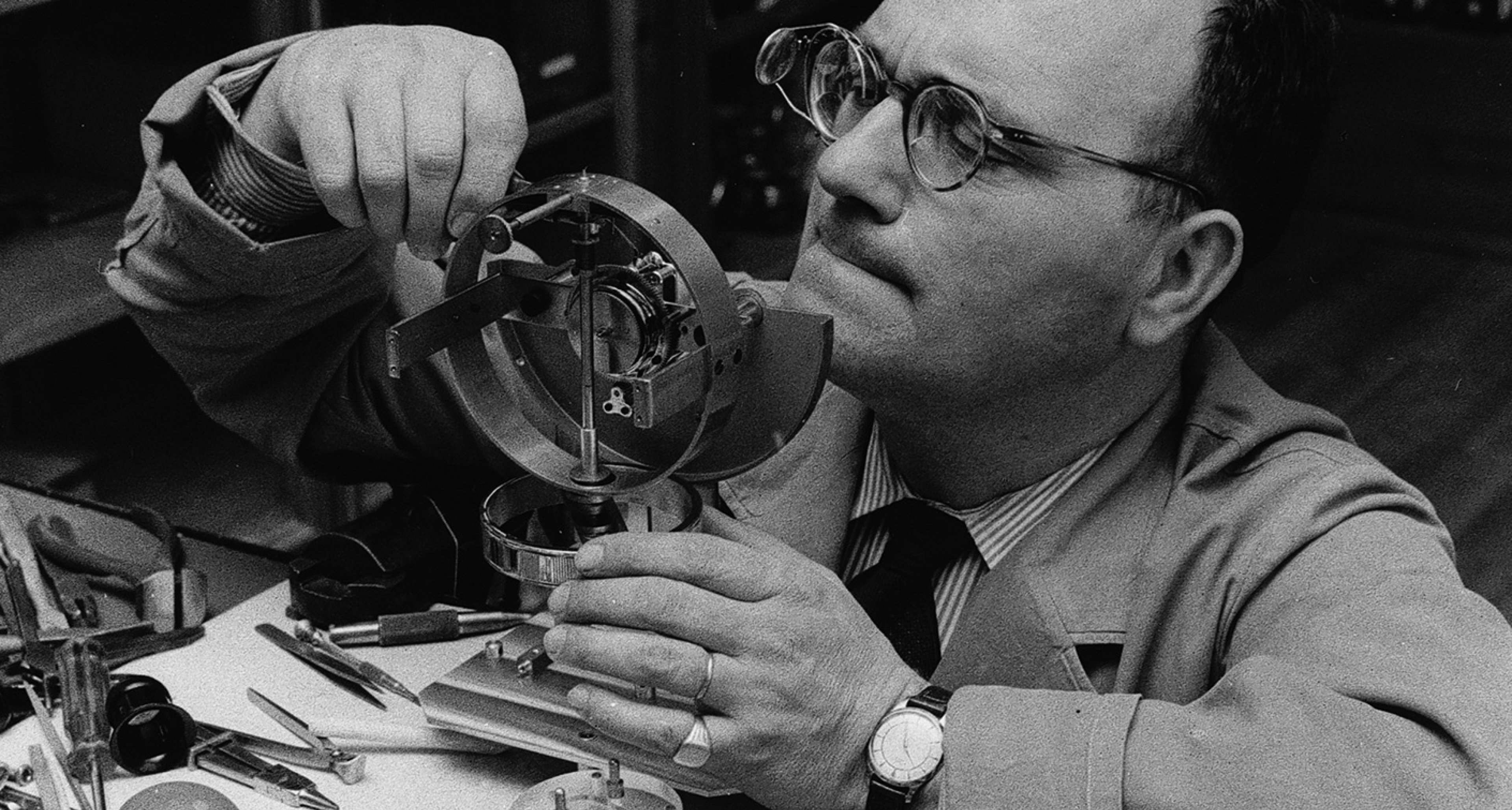 Precision engineering by hand at Jaeger LeCoultre HQ, 1950