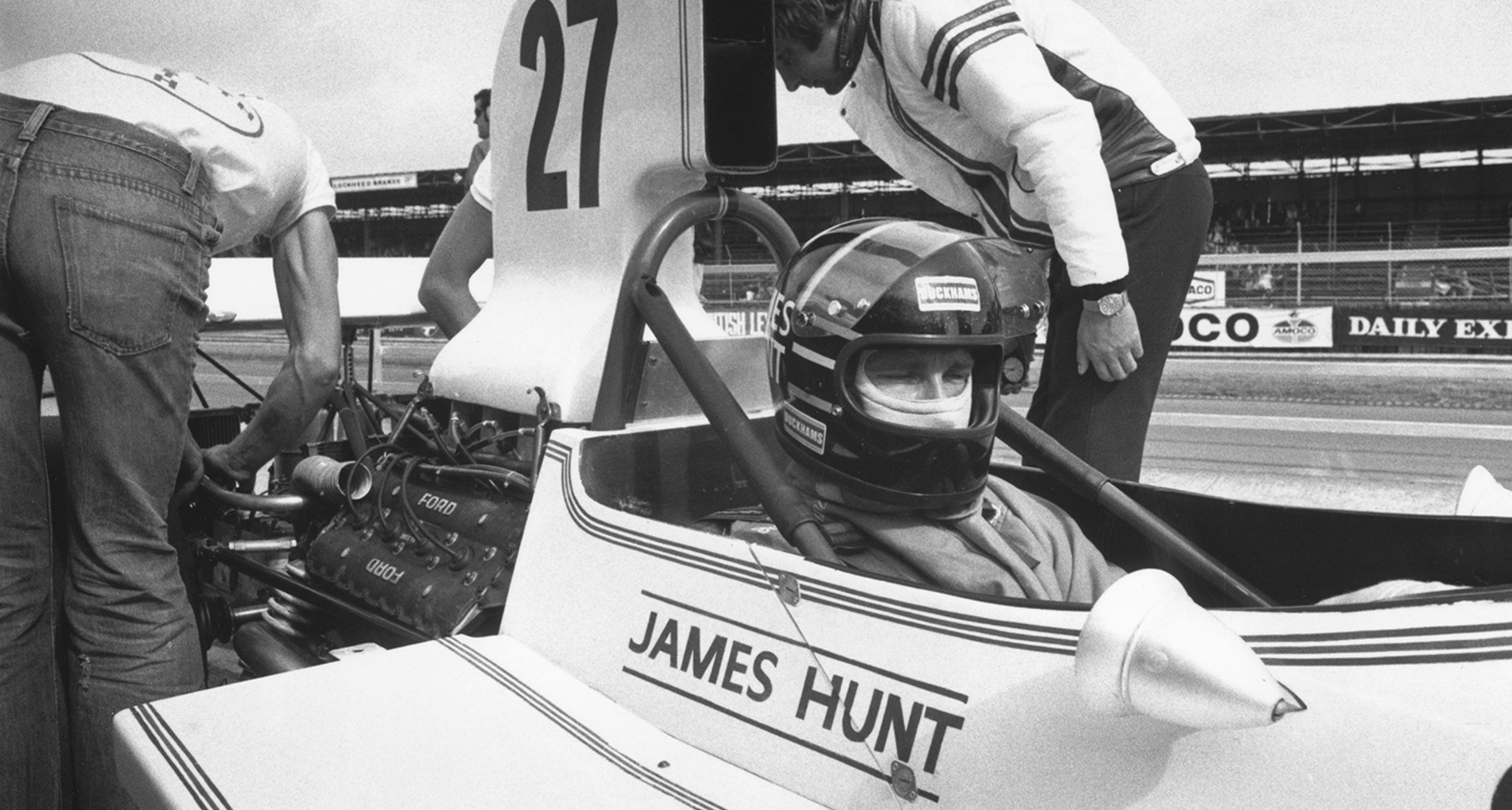 James Hunt appears a little queasy as he prepares for his first Silverstone GP, 1973