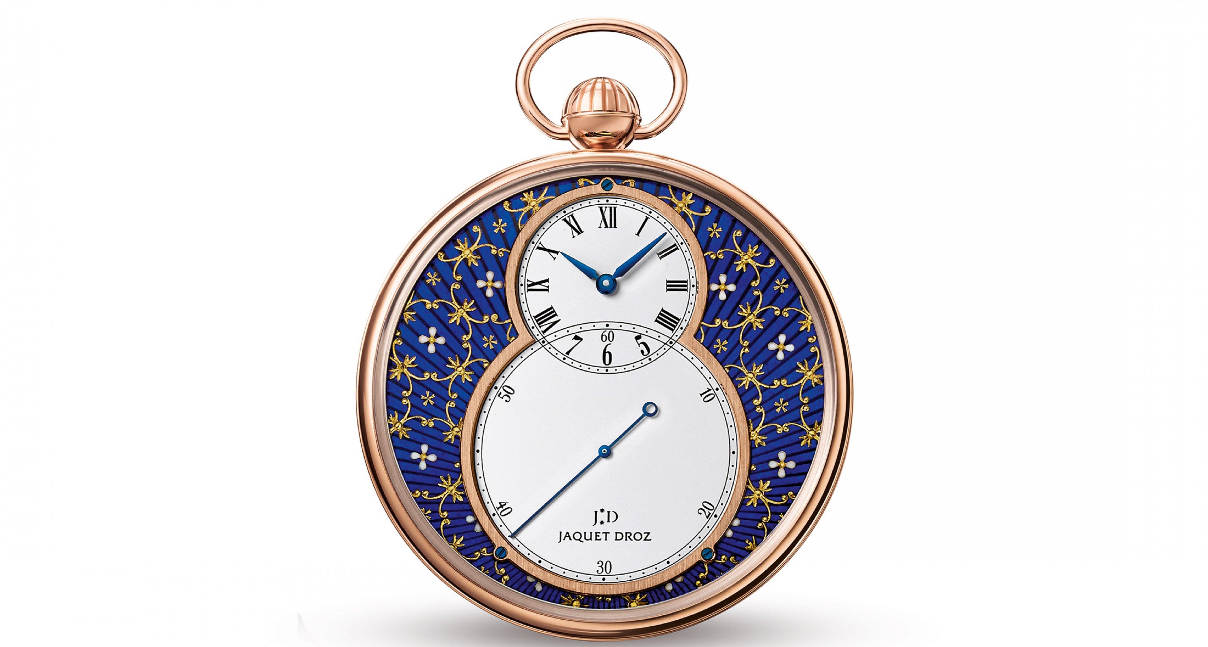 The Jaquet Drou Paillonné combines a classic pocket watch with the classic enamel handcraftship (41.400,-€)
