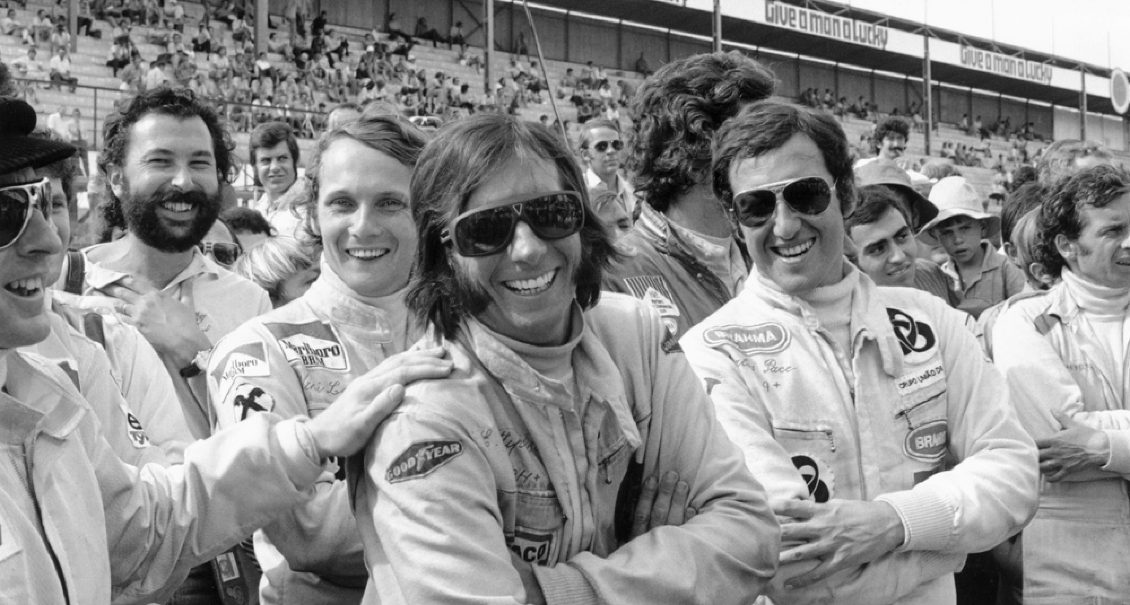 South African Grand Prix at Kyalami, 3 March 1973: Sir Jackie Stewart, Niki Lauda, Emerson Fittipaldi, Carlos Pace and Jean-Pierre Beltoise are having a good time.