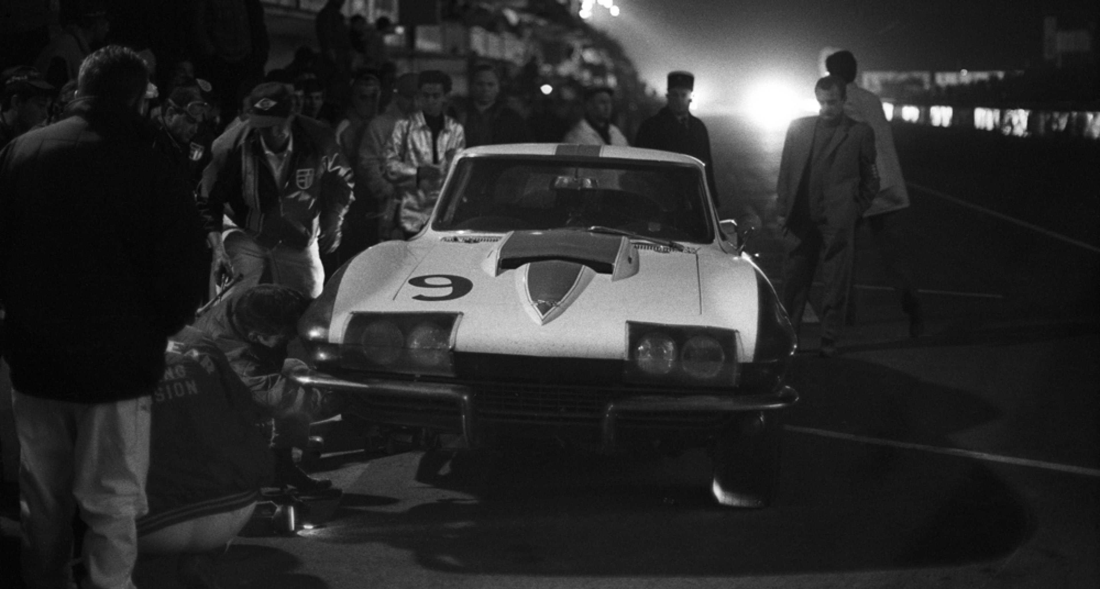 Pitstop at night of Bob Bondurant (USA) and Dick Guldstrand (USA) on Chevrolet Corvette 194377S113787 entered by Dana Chevrolet Inc. , France, Le Mans, 10 June 1967. (Photo by Rainer W. Schlegelmilch/Getty Images).