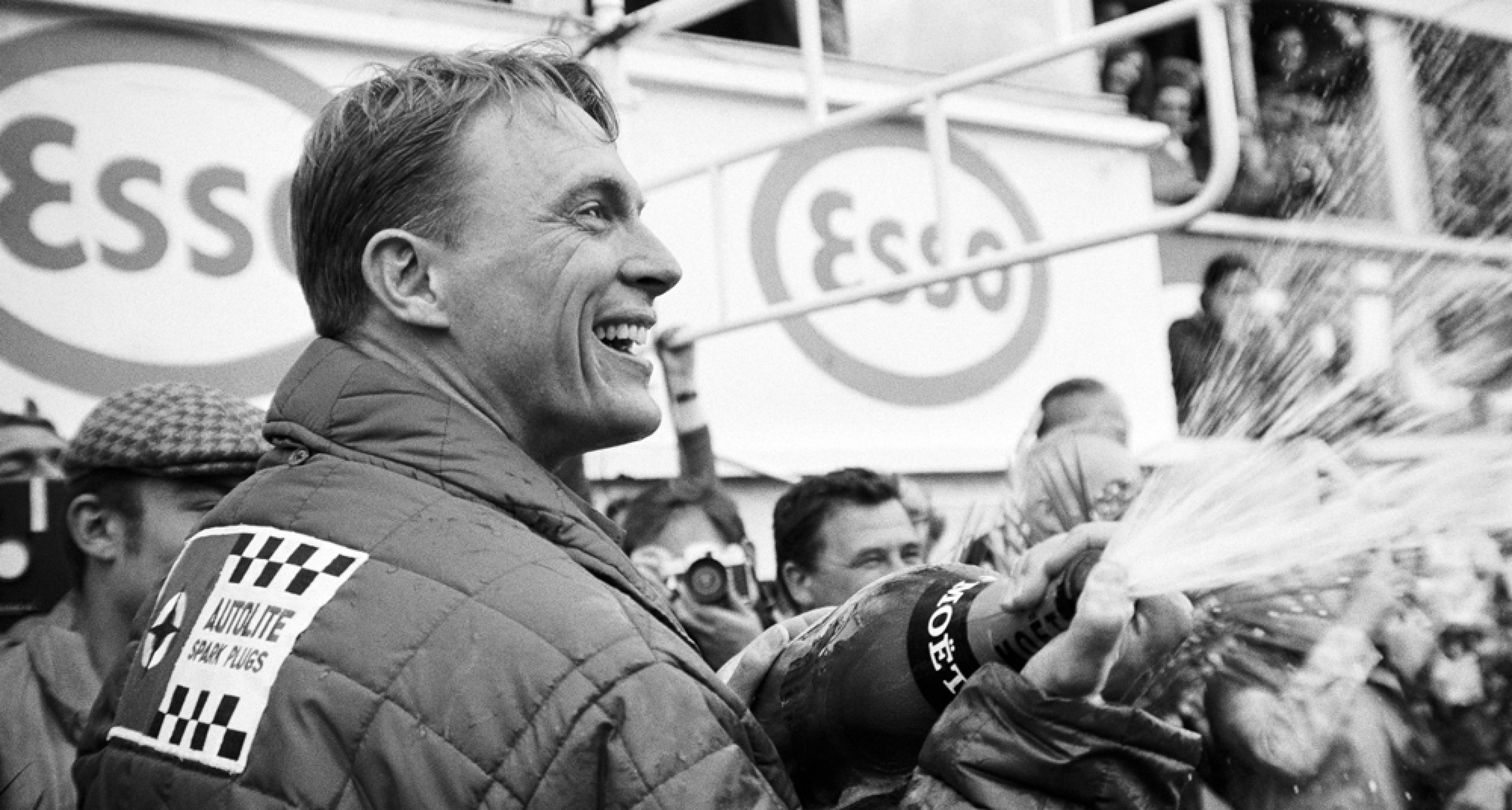 The delighted winner Dan Gurney, France, Le Mans, 10 June 1967. (Photo by Rainer W. Schlegelmilch/Getty Images)