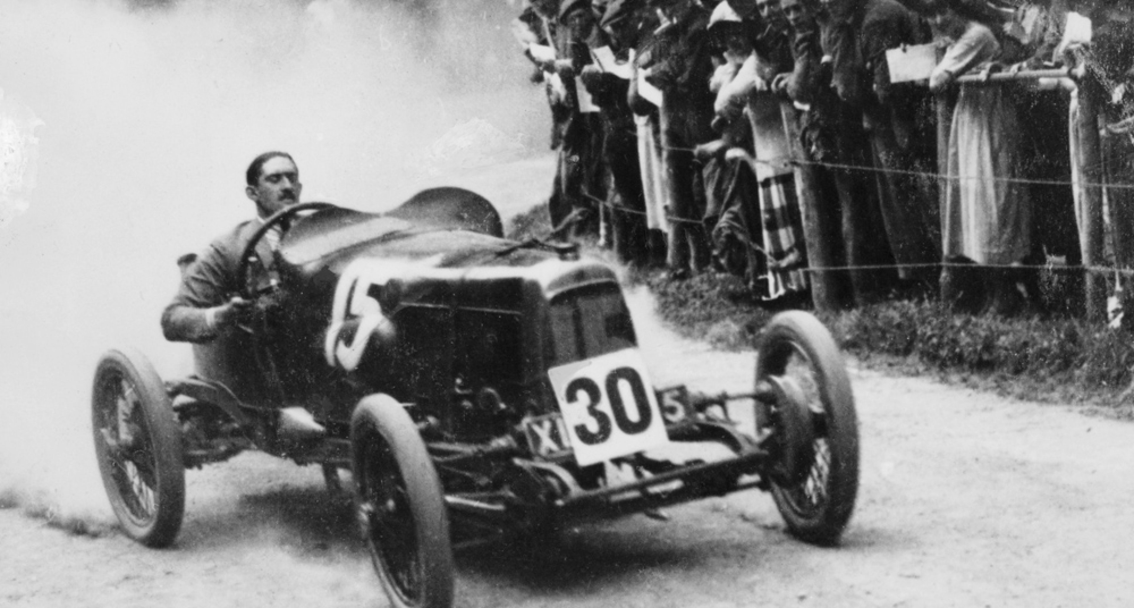 Zborowski driving a 1922 Aston Martin 1.5 litre 'Strasbourg' at Shelsey Walsh around 1922. The car was originally built for the 1922 French Grand Prix and is the oldest Aston Martin still running.