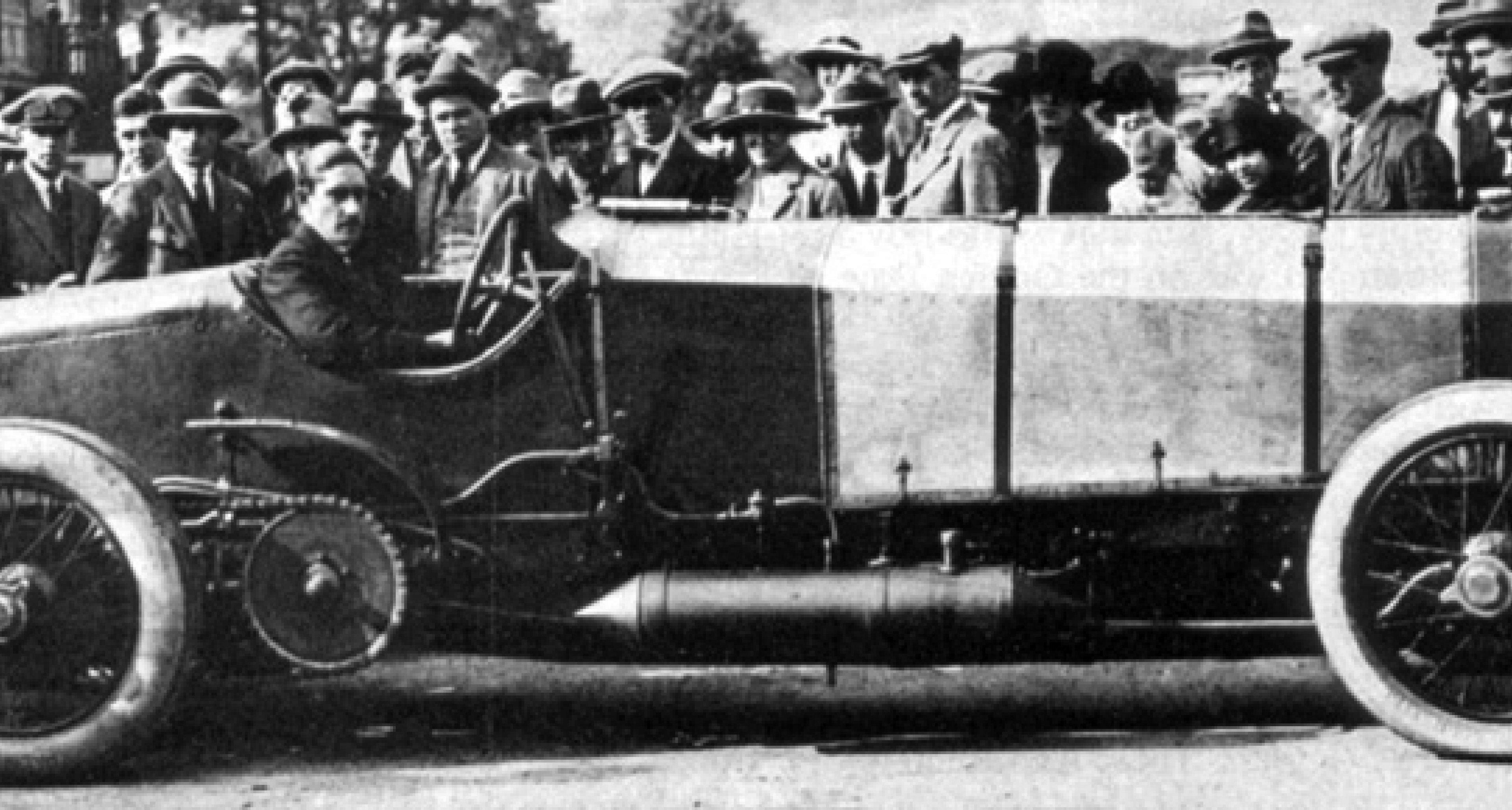 Louis Zborowski at the wheel of Chitty Bang Bang.
