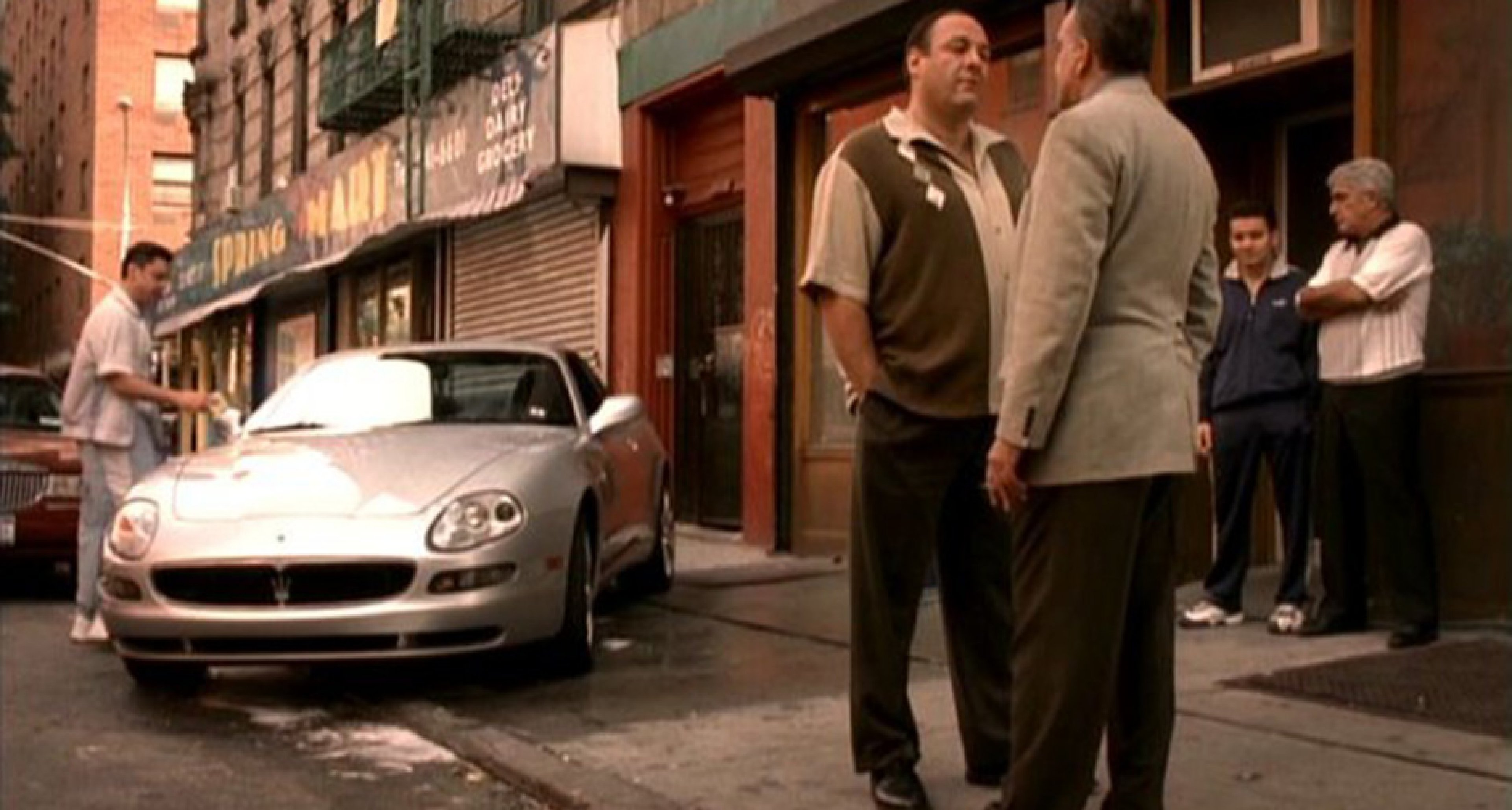 Johnny Sacrimoni's Maserati is washed in The Sopranos