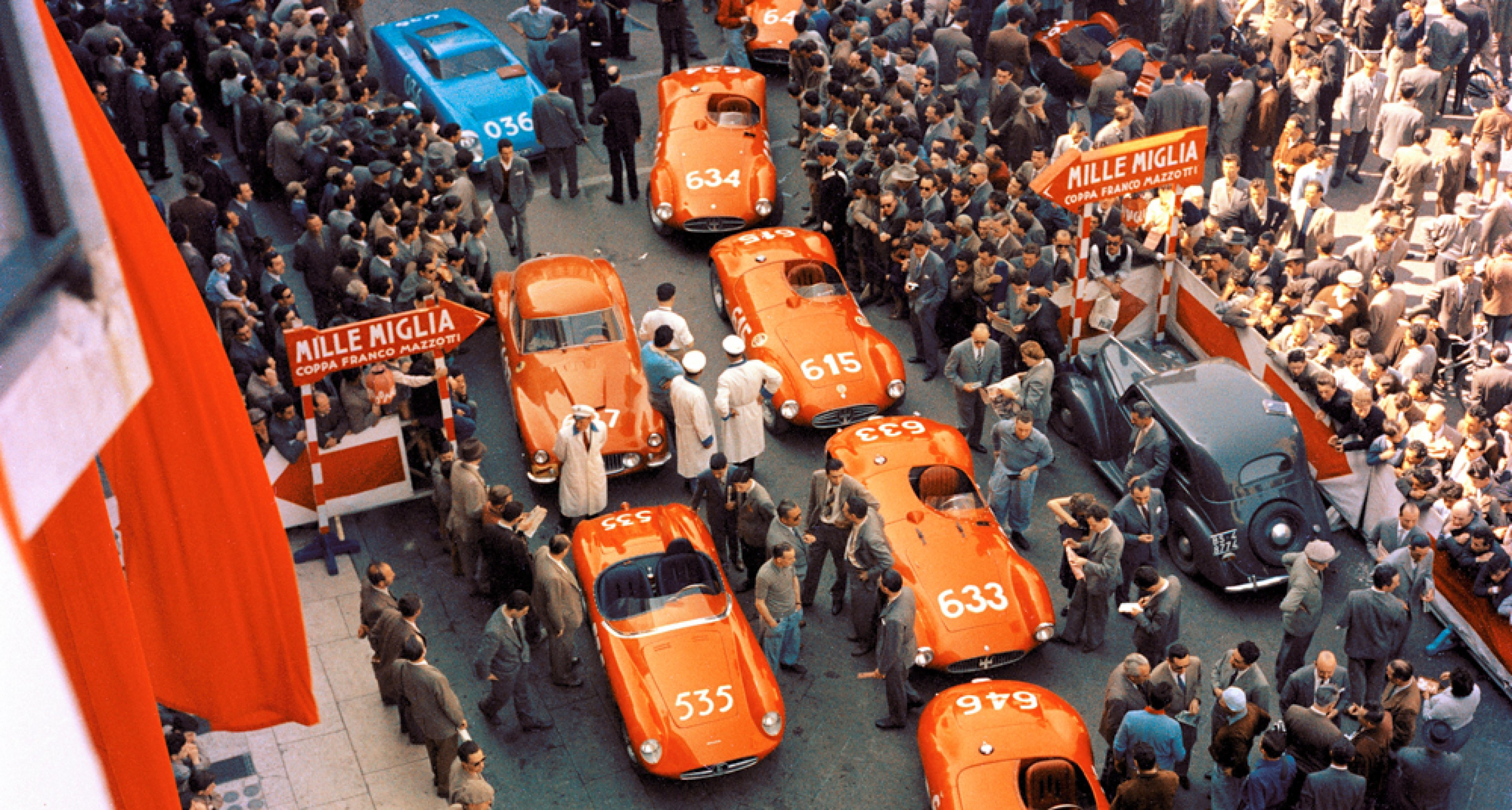 Maseratis out in force at the 1955 Mille Miglia