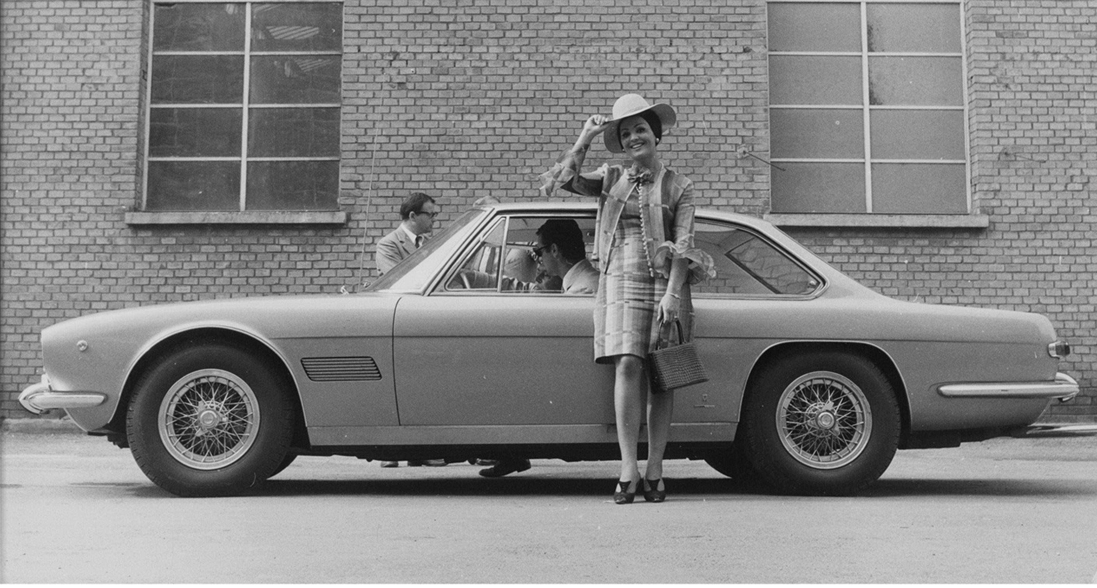 Moira Orfei and a Maserati Mexico