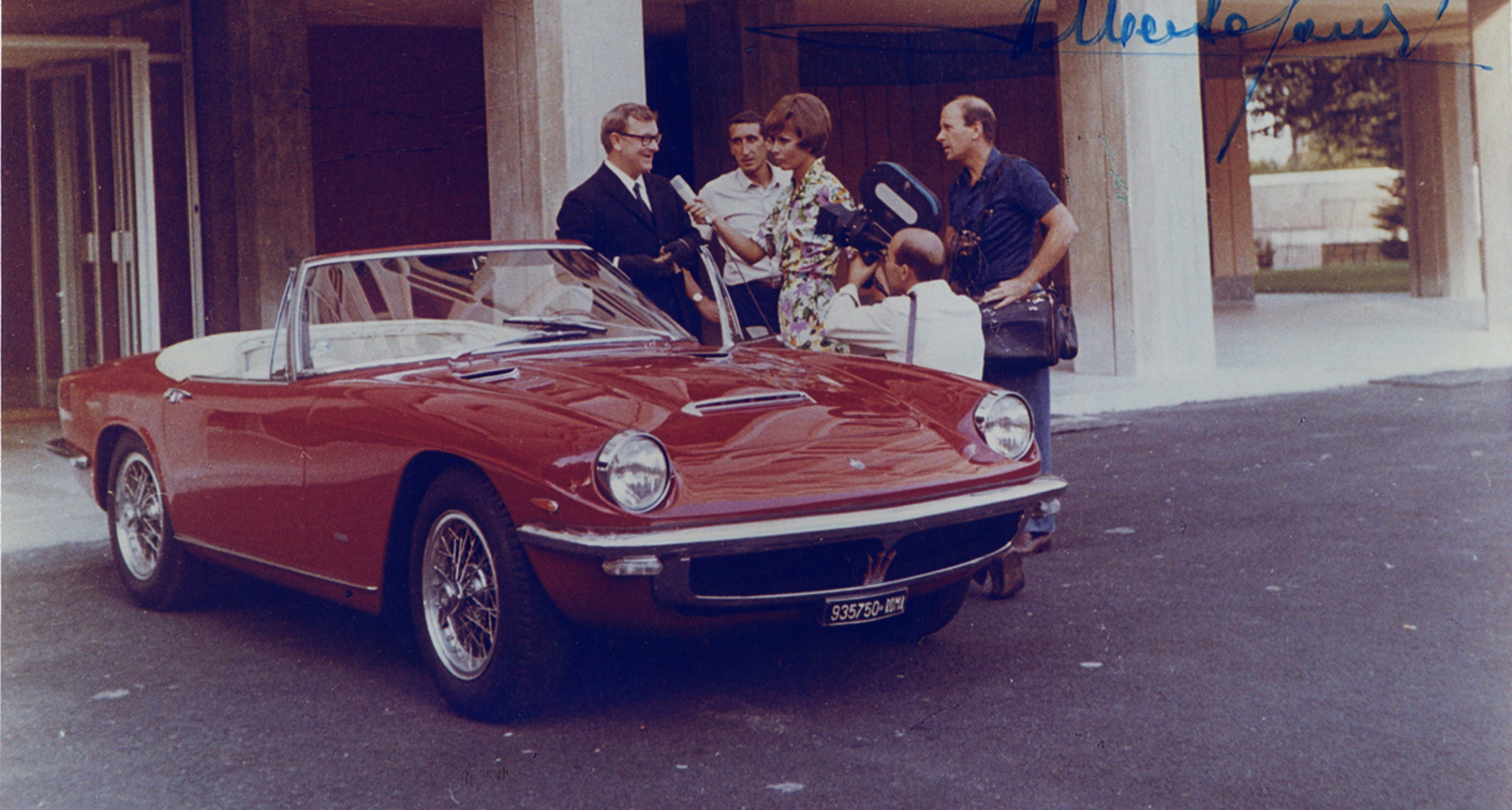Peter Sellers with a Mistral Spyder in Rome, 1966