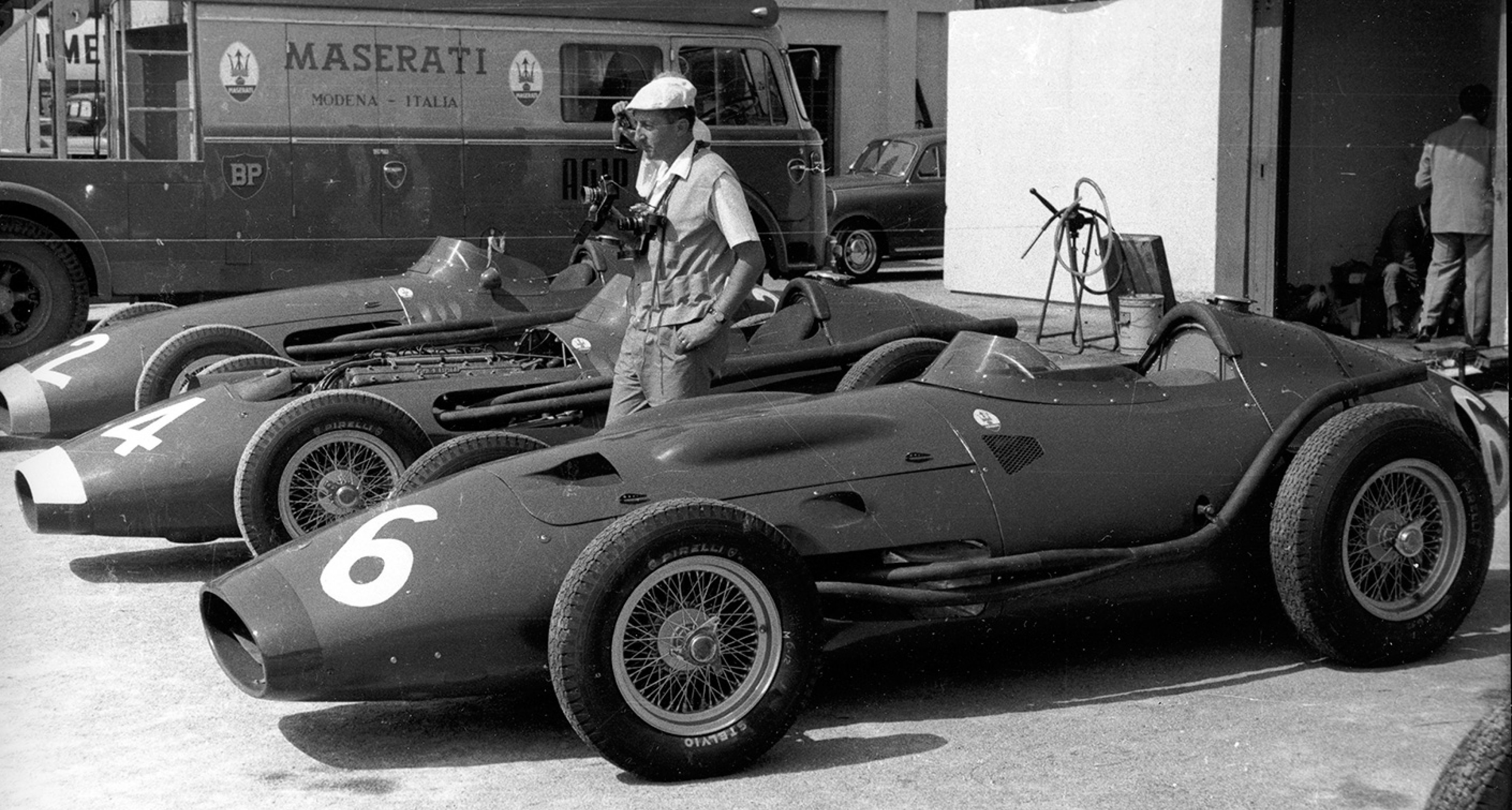 250Fs being prepared at Monza, 1956