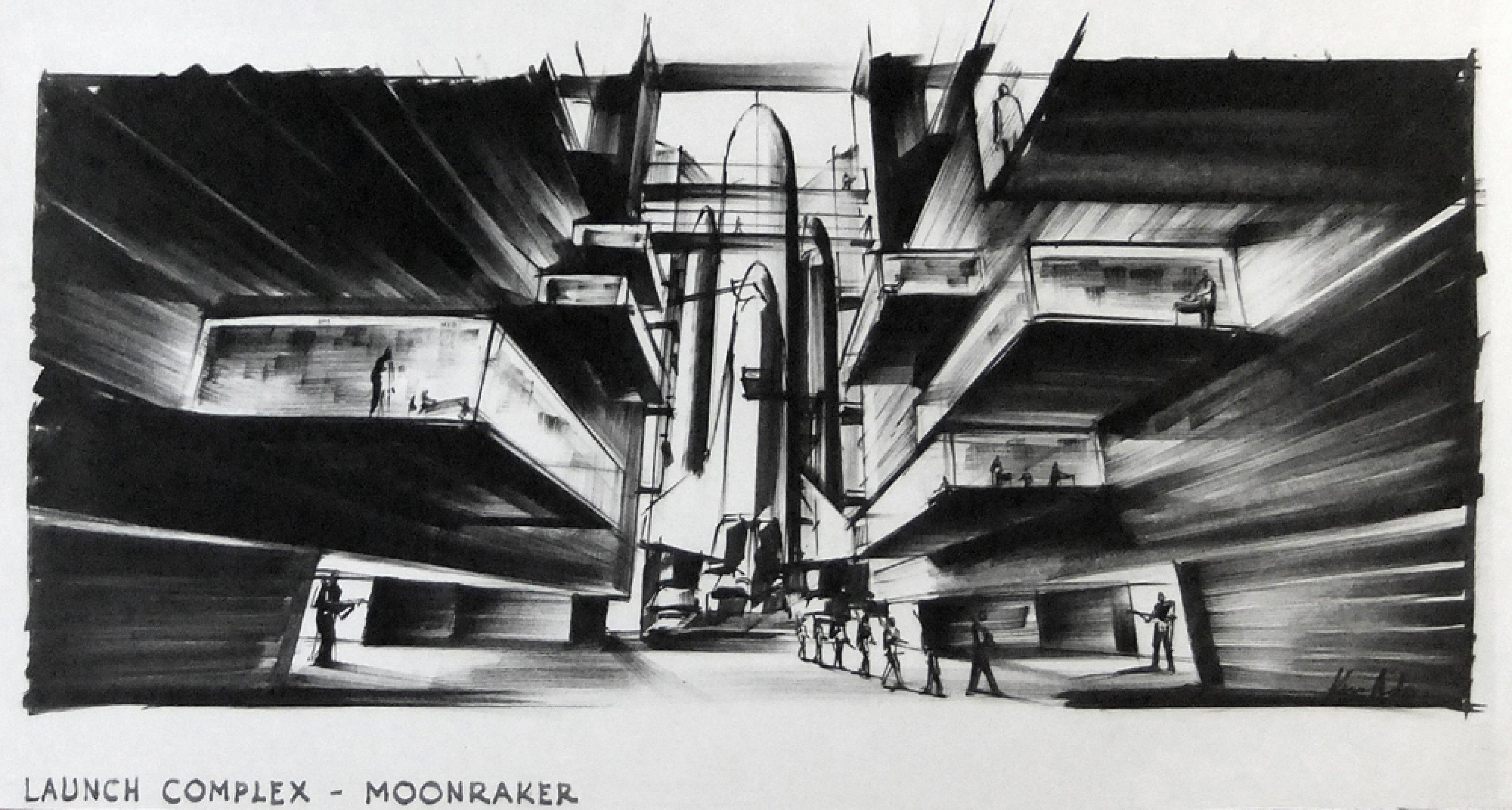 """Entwurf """"Launch Complex"""" für MOONRAKER GB/F 1979, Regie: Lewis Gilbert © Sir Ken Adam Quelle: Deutsche Kinemathek – Ken Adam Archiv"""