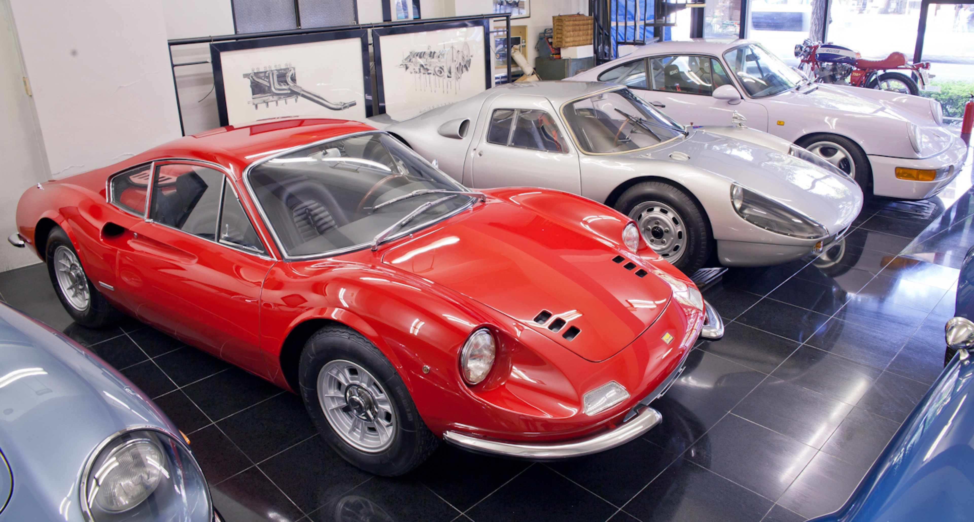 Ferrari Dino 206 – highly original (even the paintwork), only the interior has been restored. Naito-san says the Dino's handling is not that good, but the sound more than makes up for it.