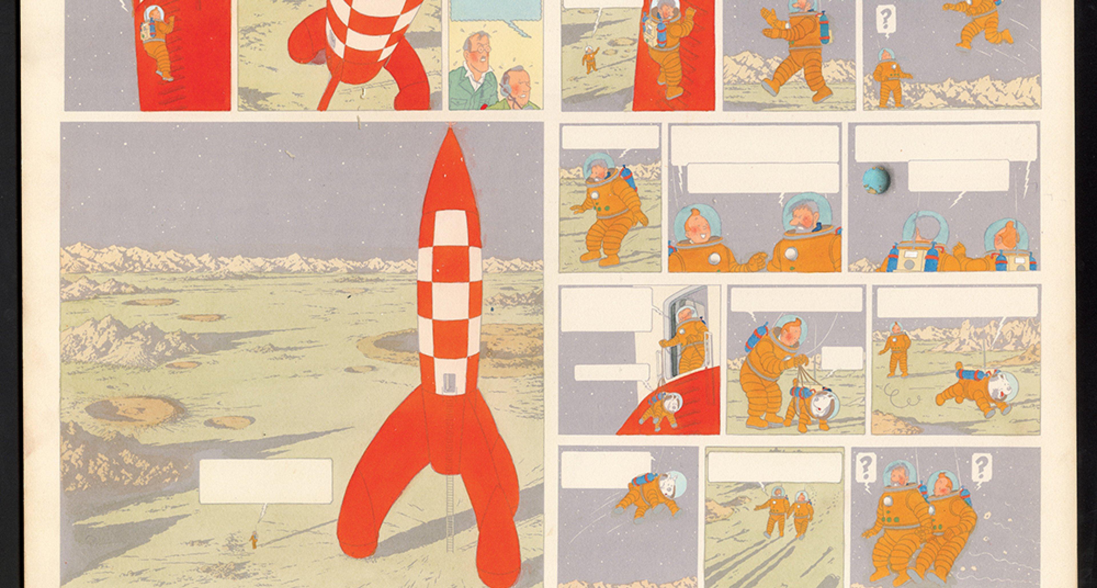 """Hergé """"Les Aventures de Tintin - On a marché sur la Lune"""" 1954. © Hergé/Moulinsart 2016"""