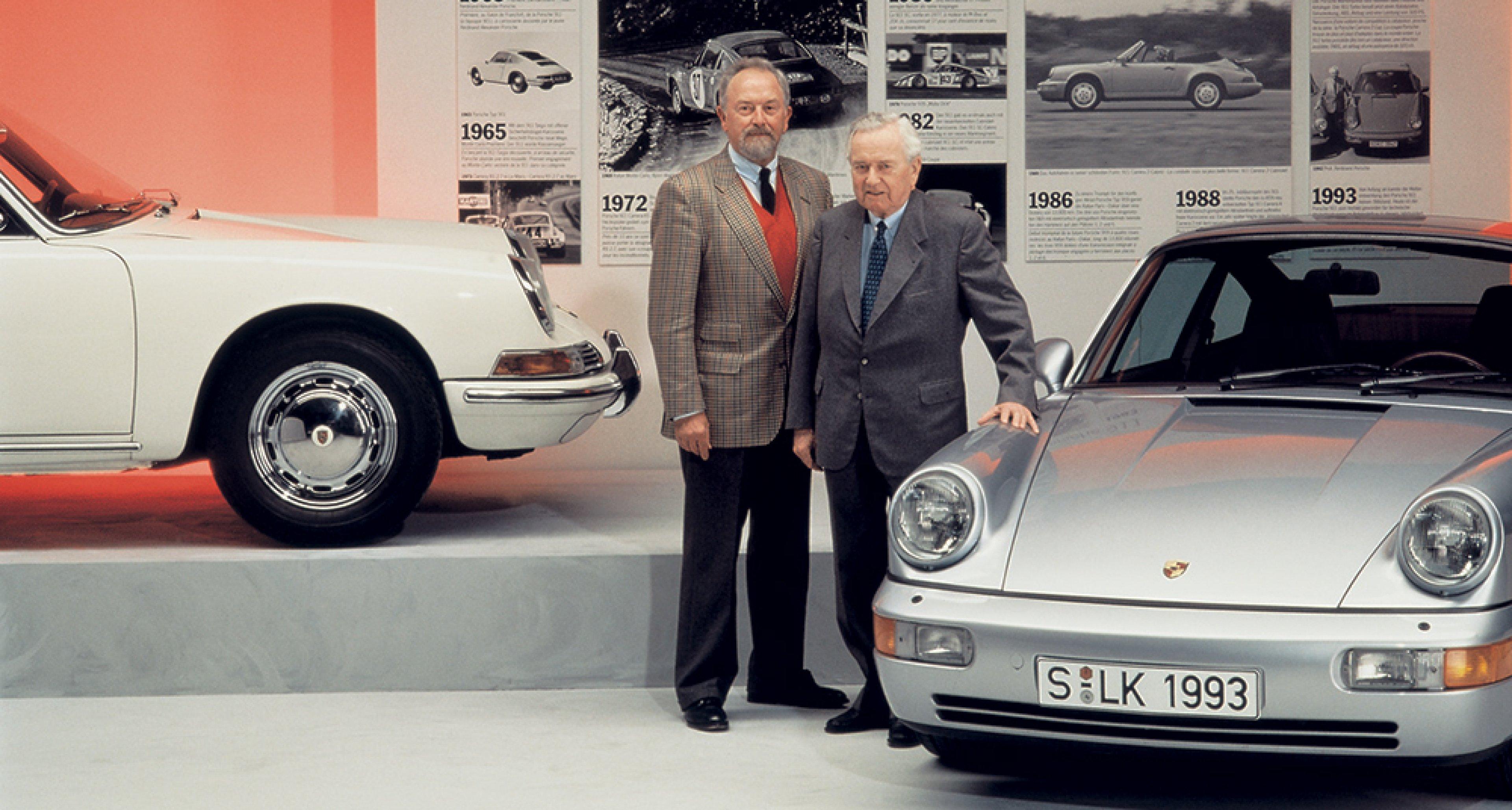 Ferry Porsche with his son Ferdinand Alexander in 1993. © Porsche archives