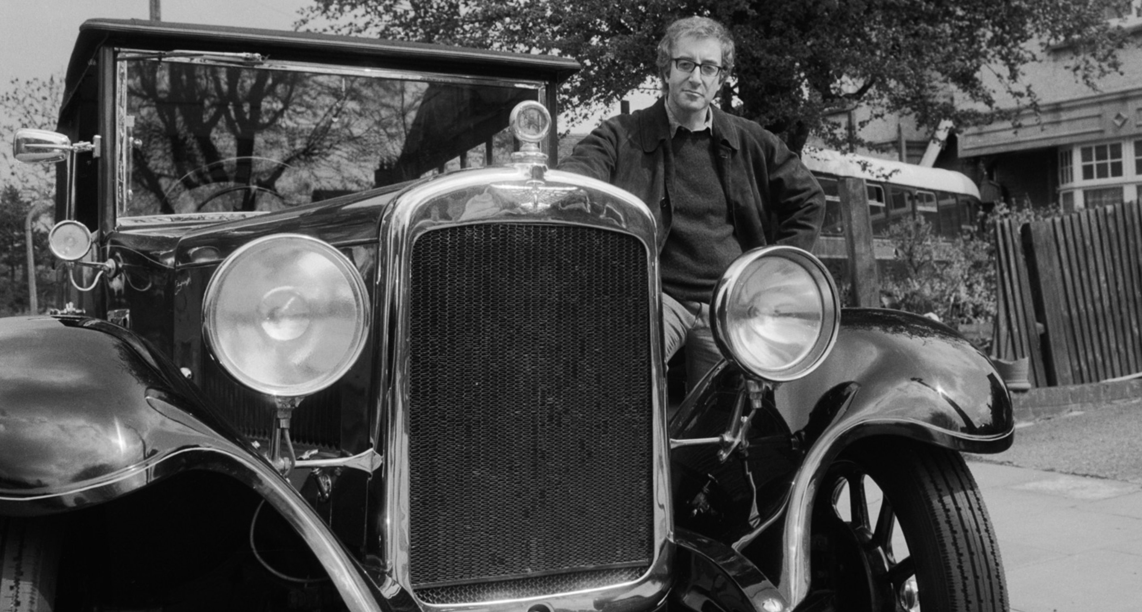 Sellers with 'Old Min', his beloved Austin