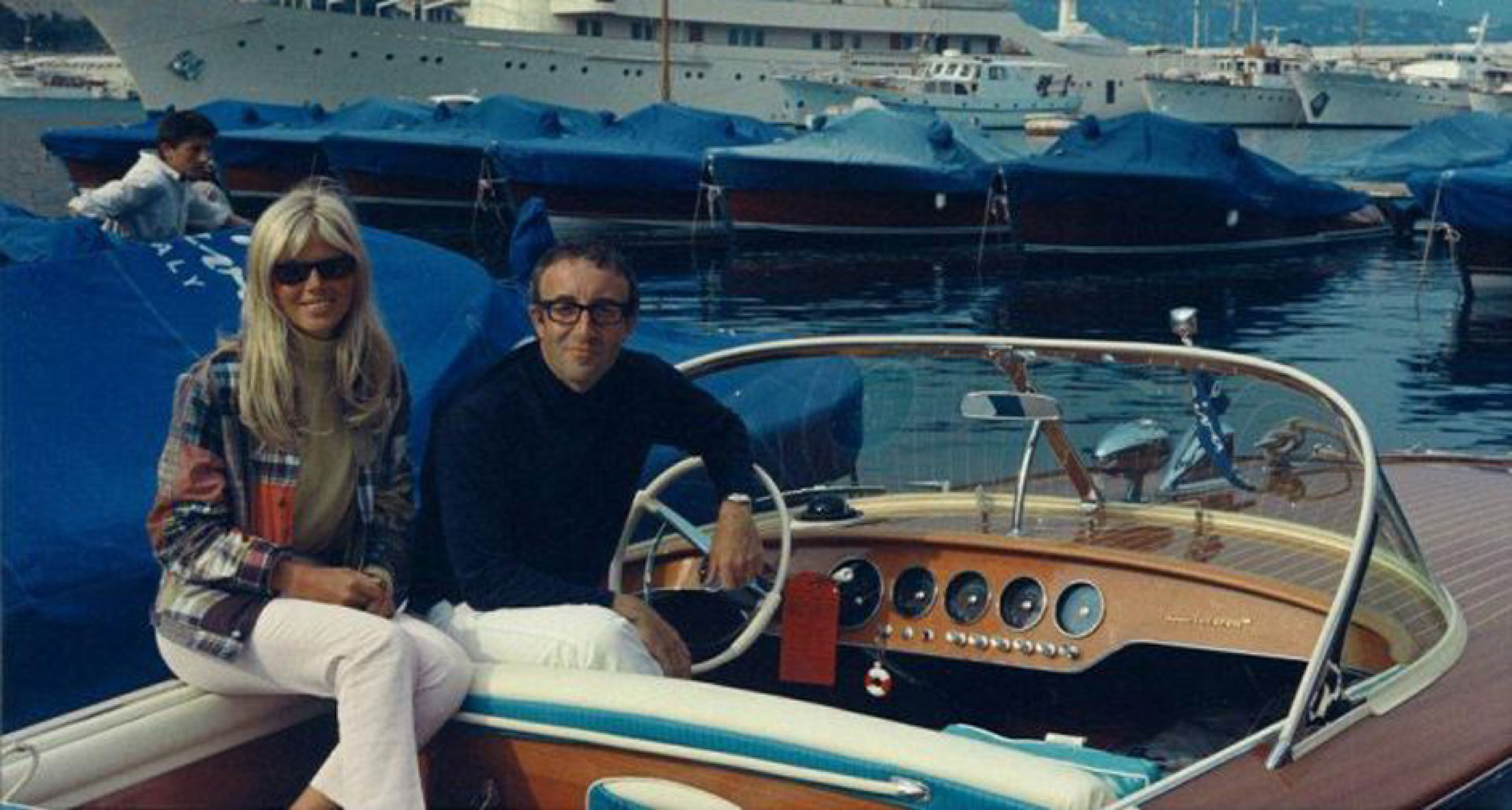 Peter Sellers & Britt Ekland aboard their Riva Junior