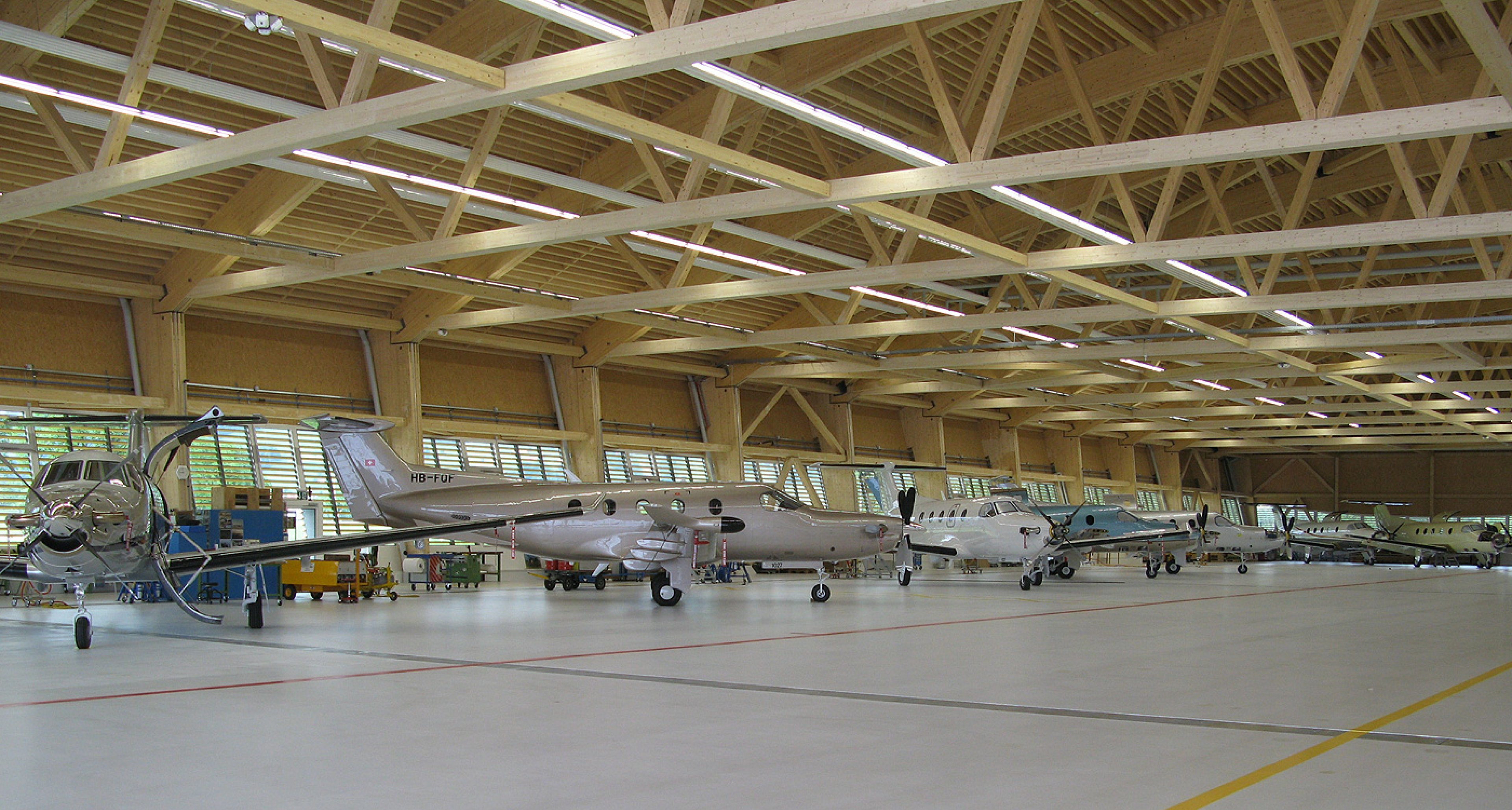 Assembly line at the all new halls of Pilatus Aircraft
