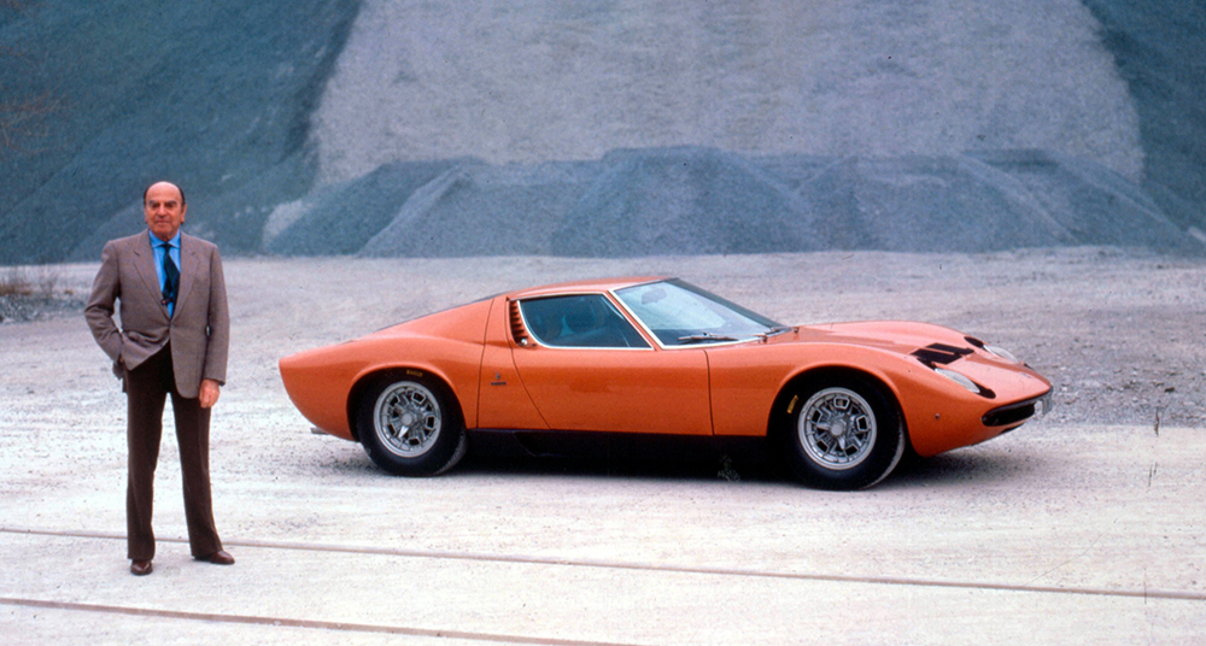 Nuccio Bertone and the Lamborghini Miura. © Rexfeatures