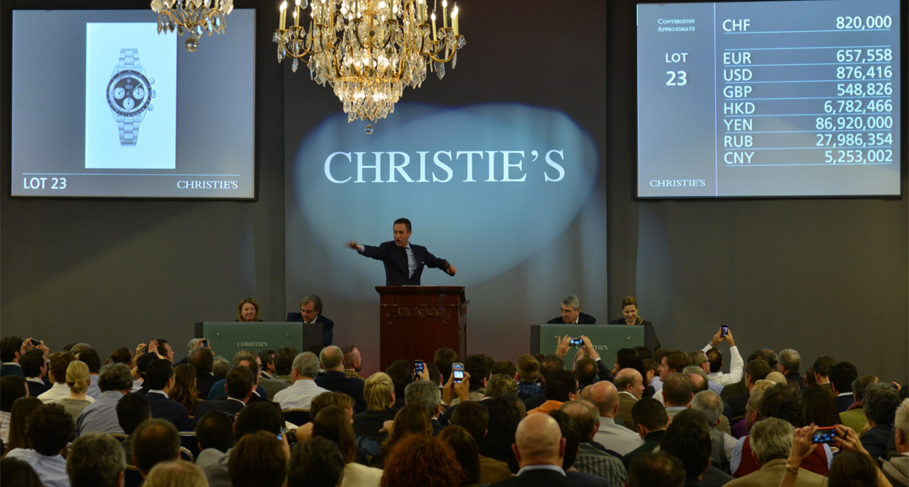 Christie's Auctioneer Aurel Bacs in his element at the Rolex Daytona Auction in Geneva