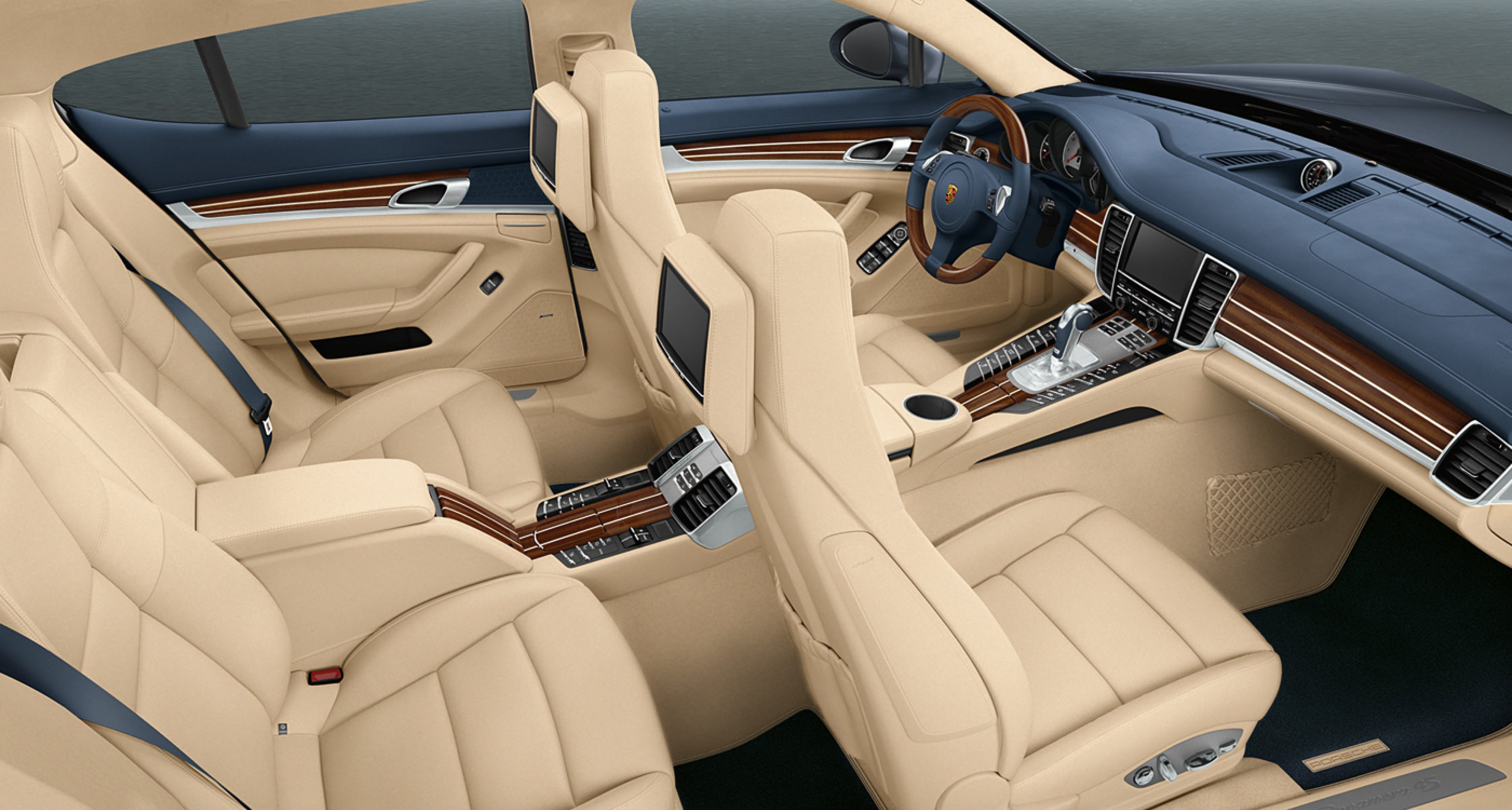 A 2009 Porsche Panamera with a yachting-inspired mahogany interior by 'Porsche Exclusive'.