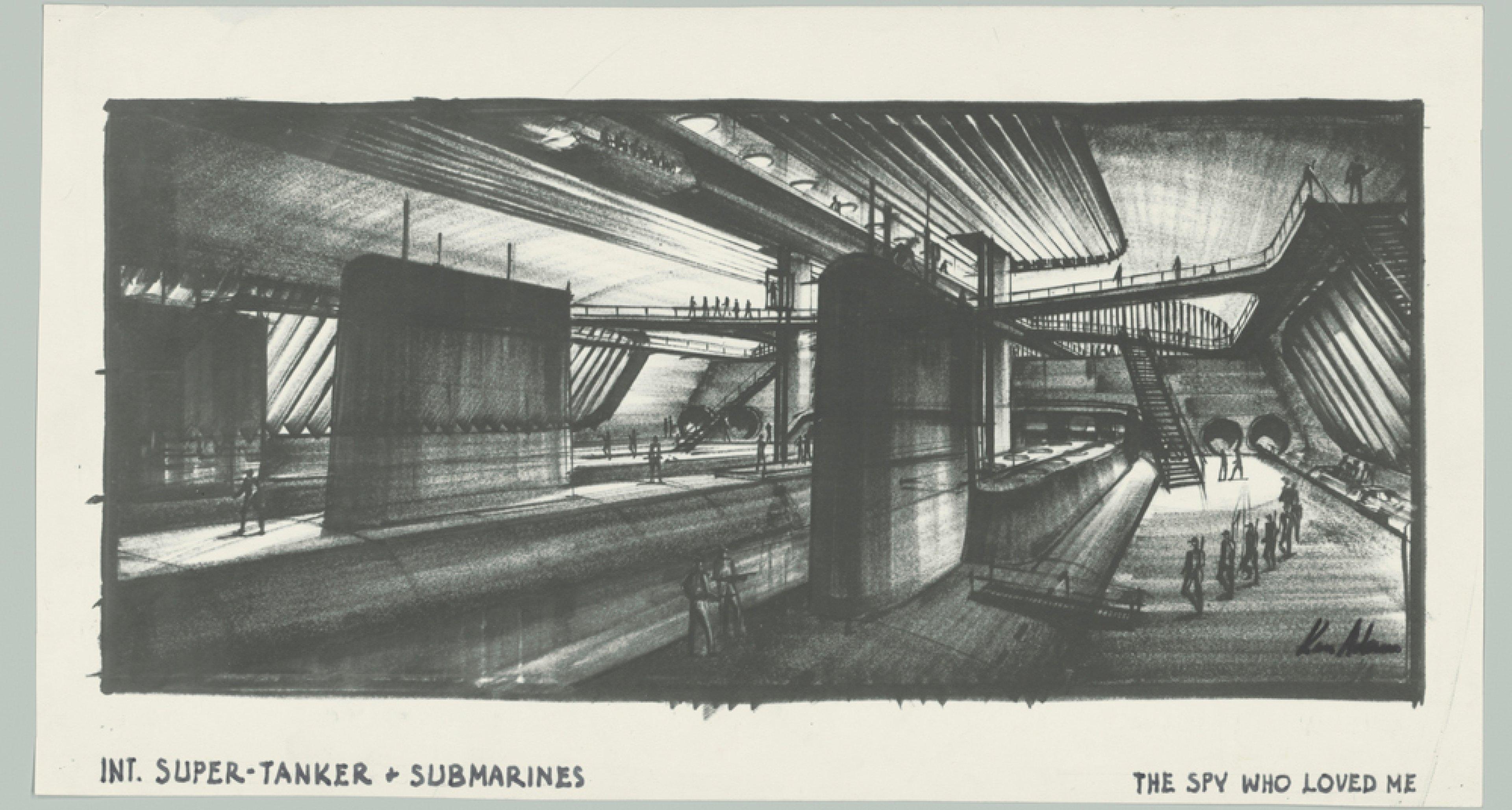 """Entwurf """"Super-Tanker Liparus and Submarines"""" THE SPY WHO LOVED ME, GB/USA 1977, Regie: Lewis Gilbert © Sir  Ken Adam Quelle: Deutsche Kinemathek – Ken Adam Archiv"""