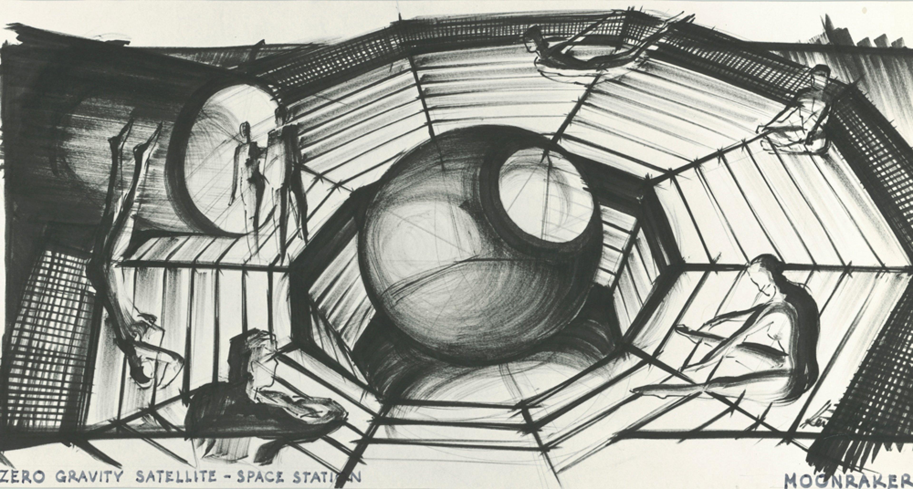 """Entwurf """"Zero Gravity"""" für MOONRAKER, GB/F 1979, Regie: Lewis Gilbert © Sir Ken Adam Quelle: Deutsche Kinemathek – Ken Adam Archiv"""