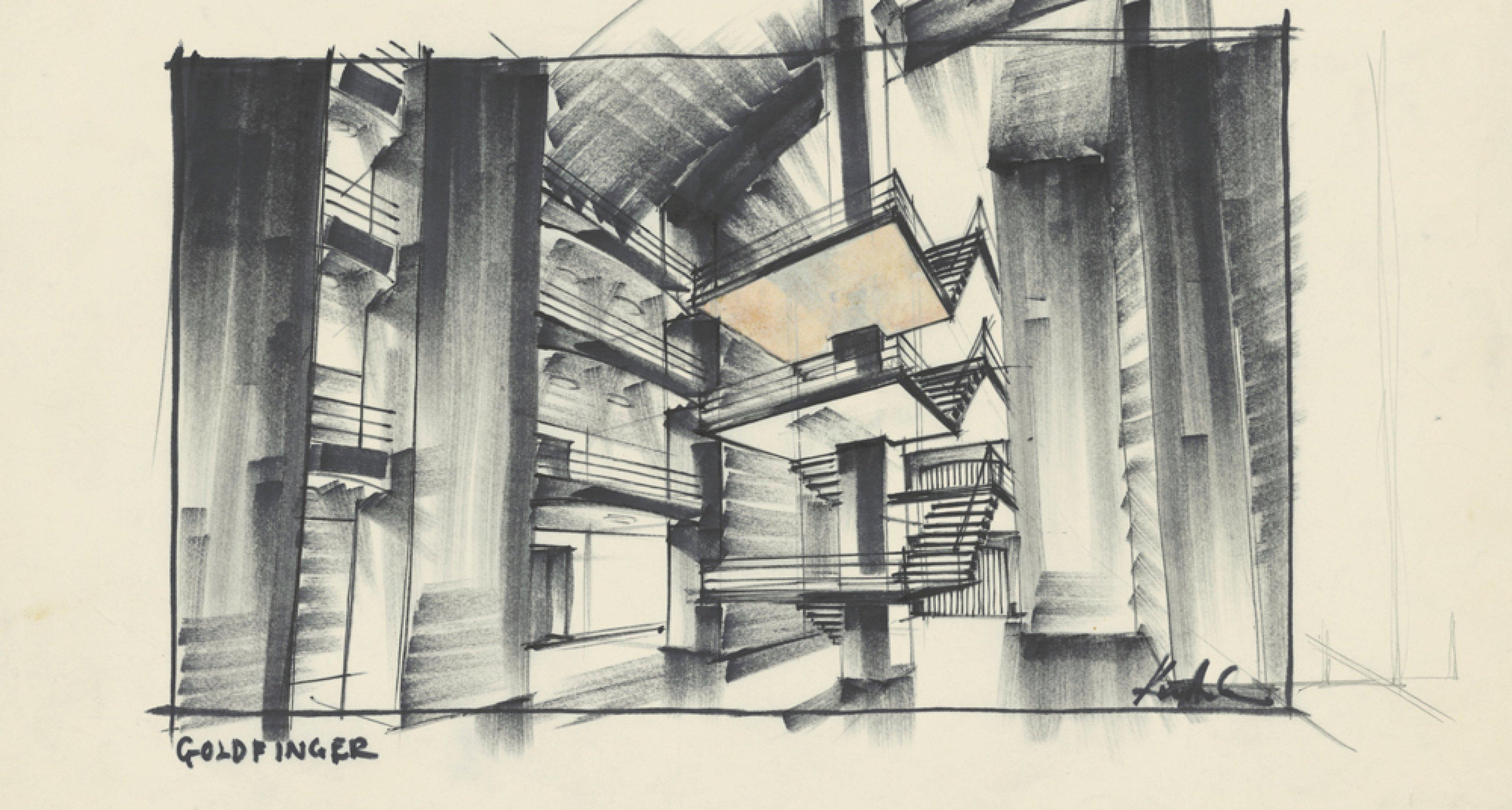 """Entwurf """"Fort Knox"""" für GOLDFINGER GB/USA 1964, Regie: Guy Hamilton © Sir Ken Adam Quelle: Deutsche Kinemathek – Ken Adam Archiv"""
