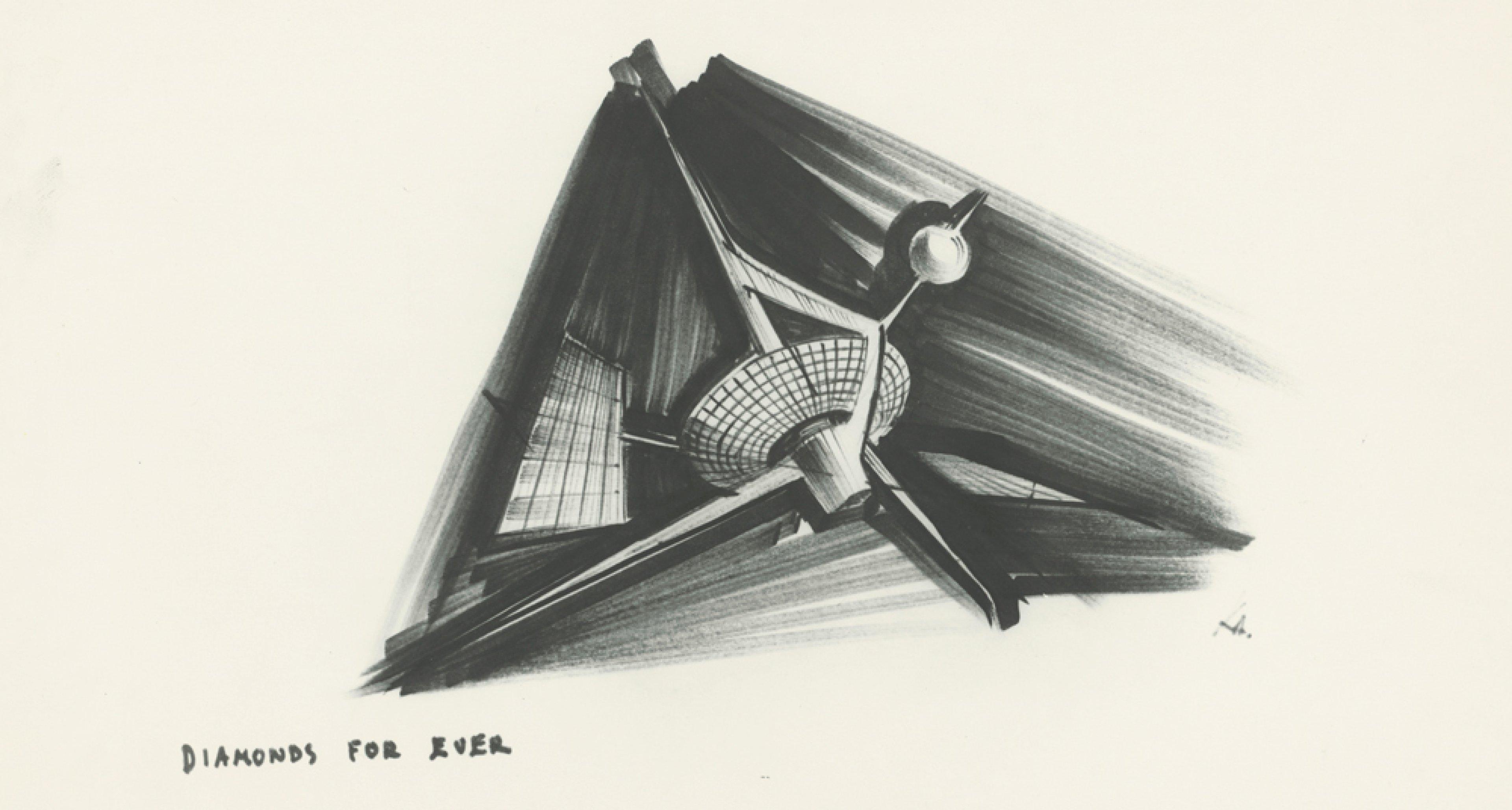 """Entwurf """"Diamond Satellite"""" für DIAMONDS ARE FOREVER GB/USA 1971, Regie: Guy Hamilton © Sir Ken Adam Quelle: Deutsche Kinemathek – Ken Adam Archiv"""