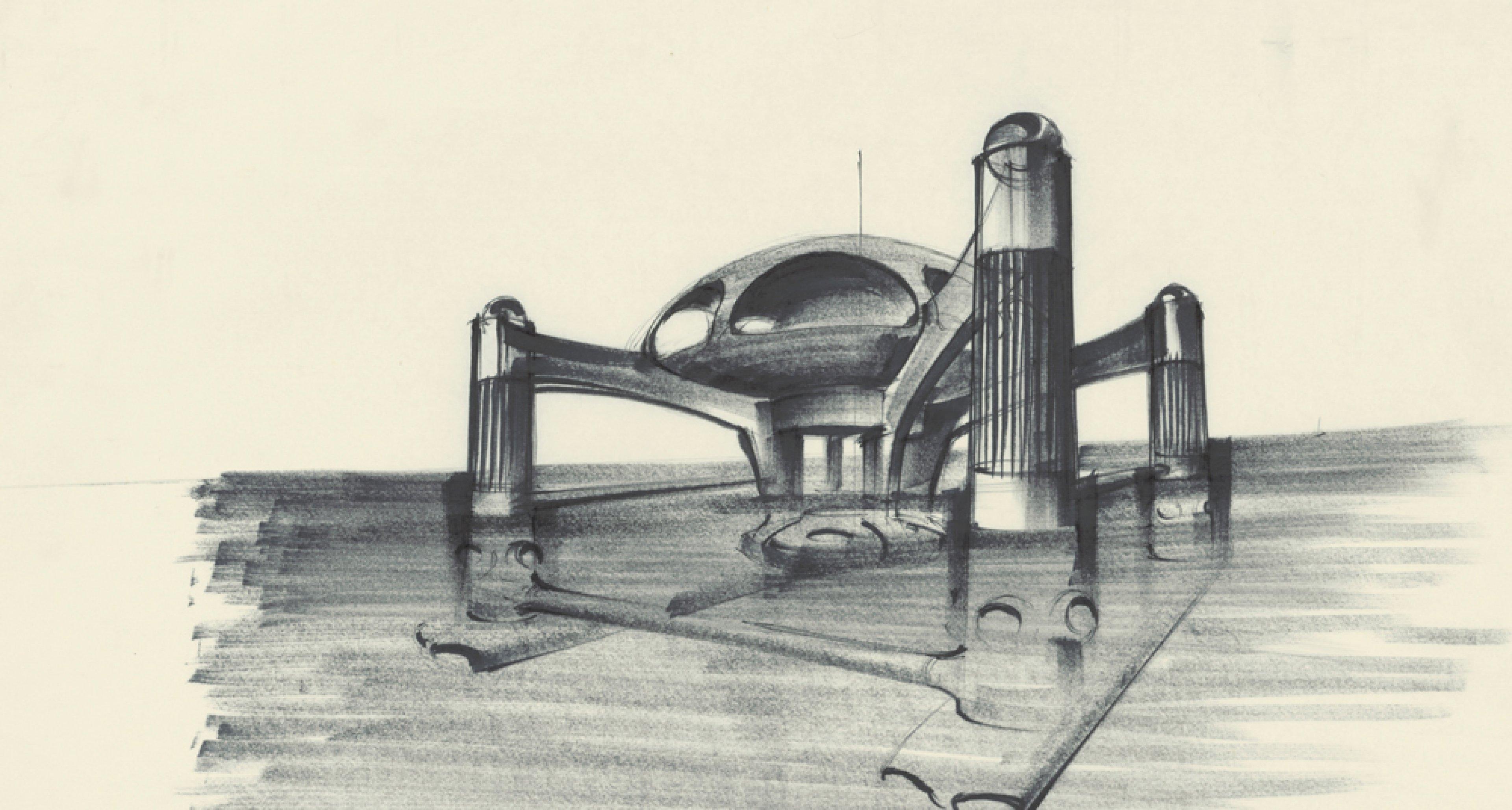 """Entwurf """"Atlantis""""  für THE SPY WHO LOVED ME GB/USA 1977, Regie: Lewis Gilbert © Sir Ken Adam Quelle: Deutsche Kinemathek – Ken Adam Archiv"""