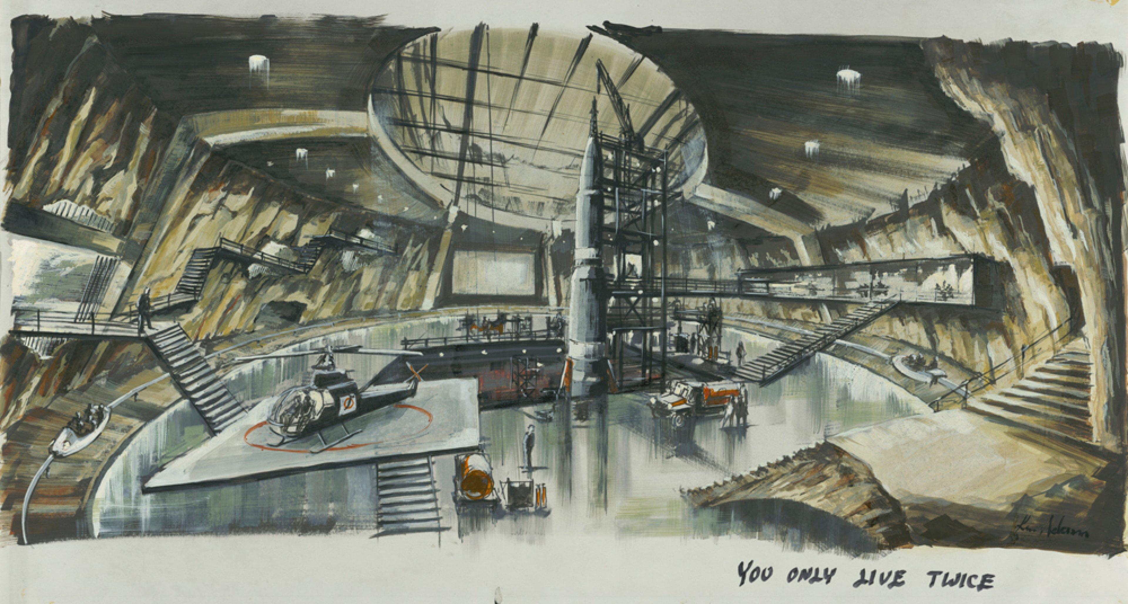 """Entwurf """"Blofeld's Volcano Lair"""" YOU ONLY LIVE TWICE, GB/USA 1967, Regie: Lewis Gilbert © Sir Ken Adam Quelle: Deutsche Kinemathek – Ken Adam Archiv"""
