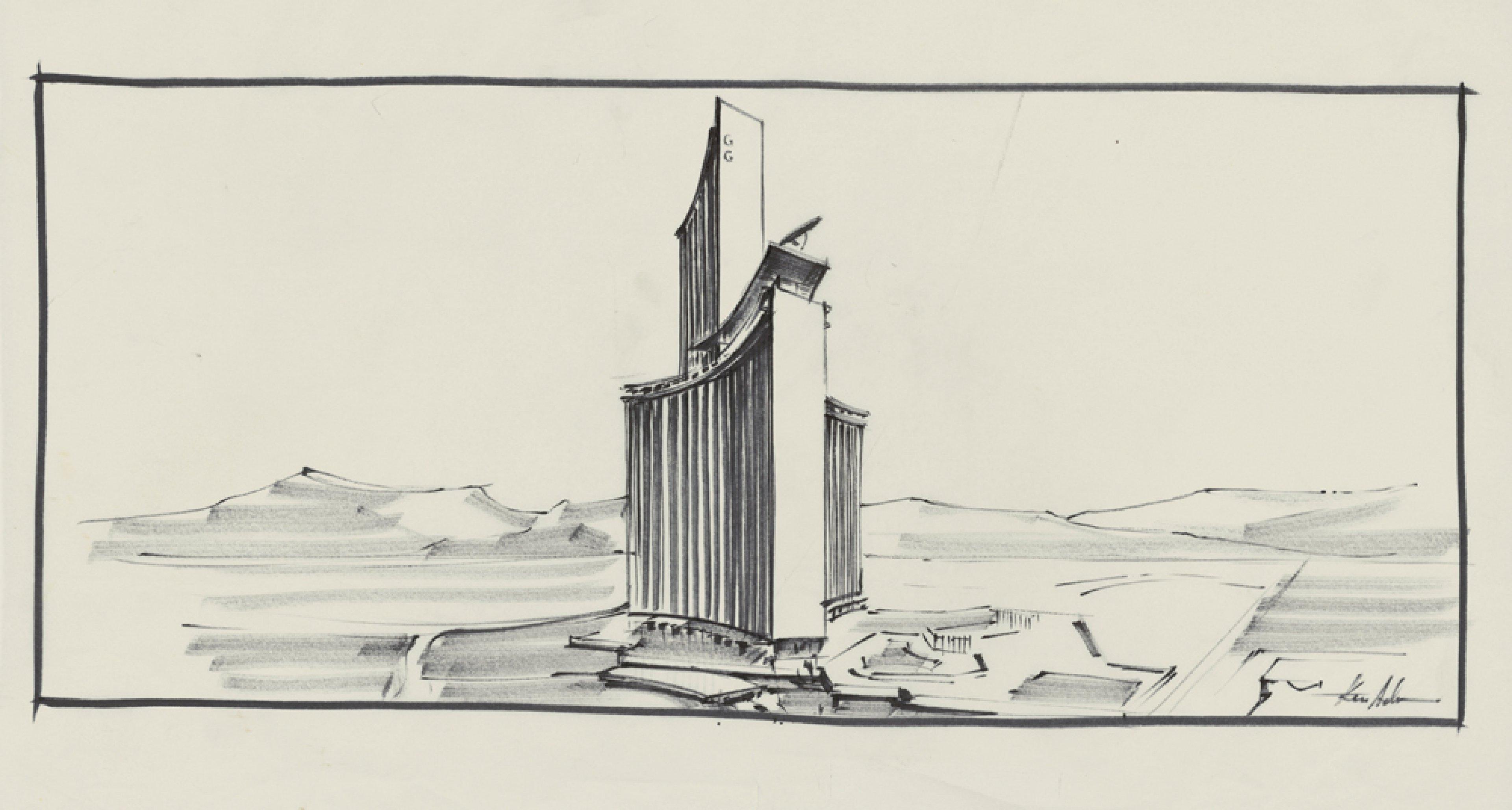 """Entwurf """"Willard Whyte House"""" DIAMONDS ARE FOREVER GB/USA 1971, Regie: Guy Hamilton © Sir Ken Adam Quelle: Deutsche Kinemathek – Ken Adam Archiv"""