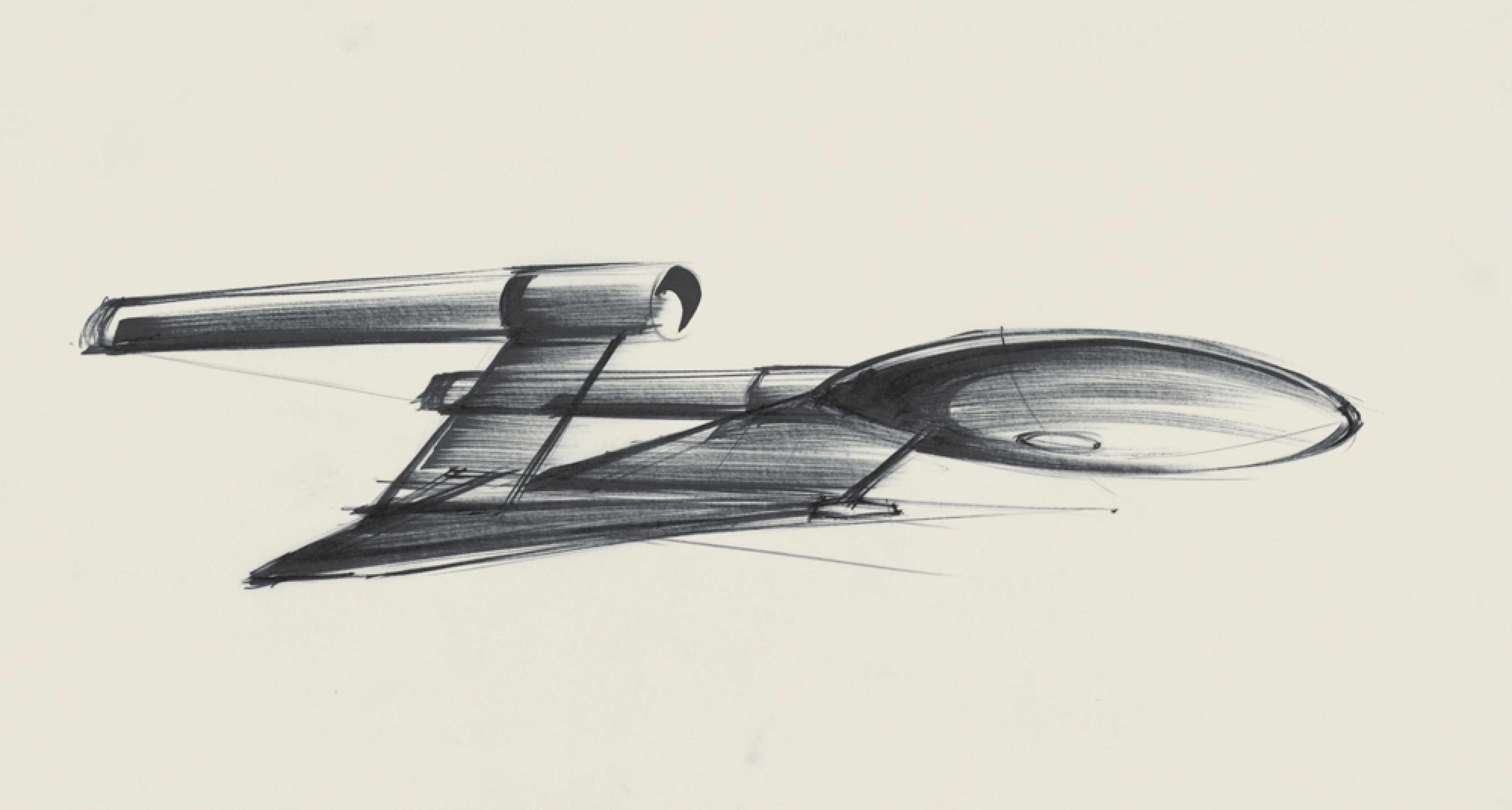 """Entwurf """"Starship Enterprise"""" für STAR TREK – THE MOTION PICTURE USA 1979, Regie: Robert Wise © Sir Ken Adam Quelle: Deutsche Kinemathek – Ken Adam Archiv Dreimonatige Mitarbeit"""