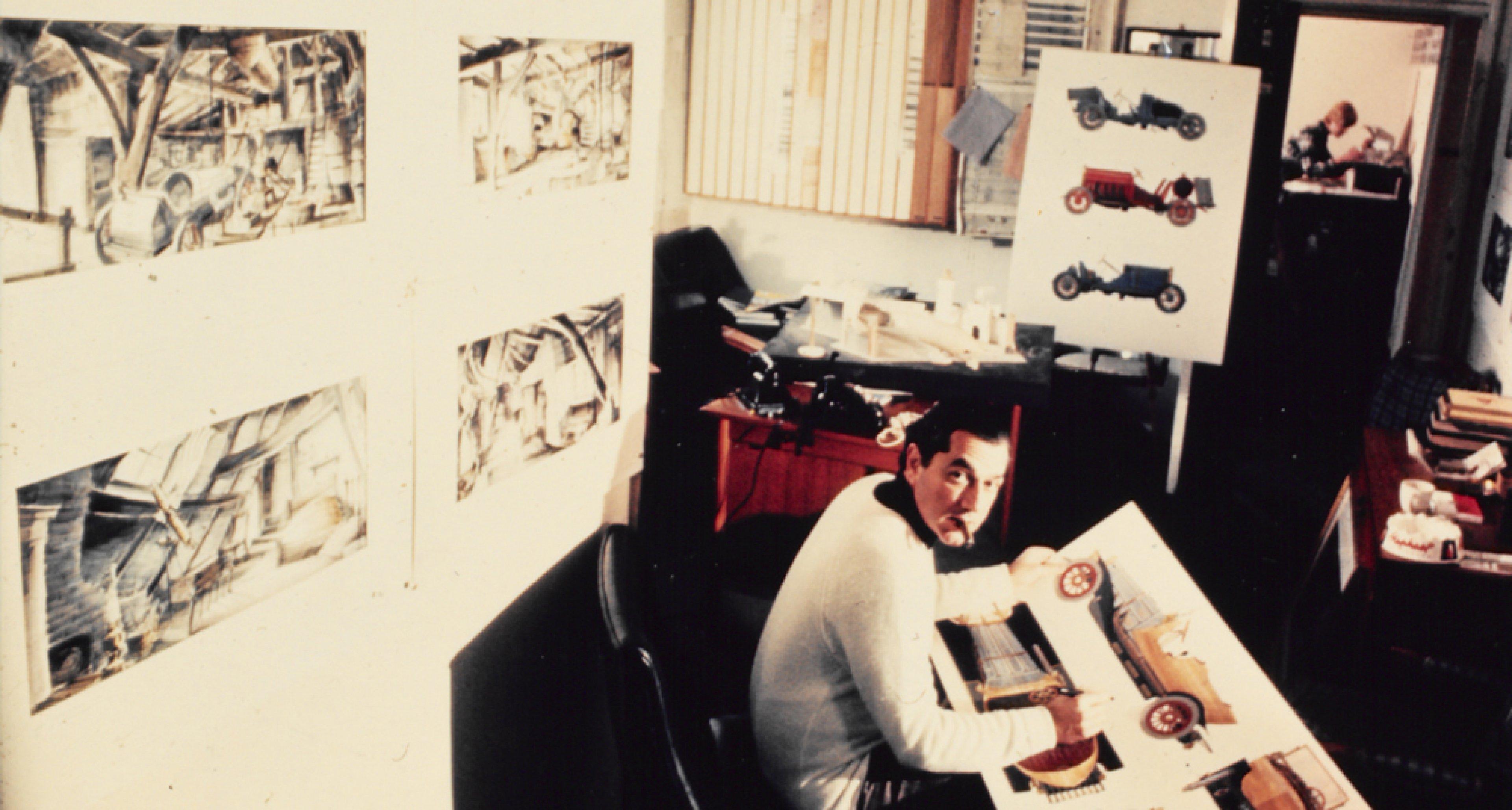 Ken Adam mit den Entwürfen zu CHITTY CHITTY BANG BANG GB/USA 1968, Regie: Ken Hughes Quelle: Deutsche Kinemathek – Ken Adam Archiv