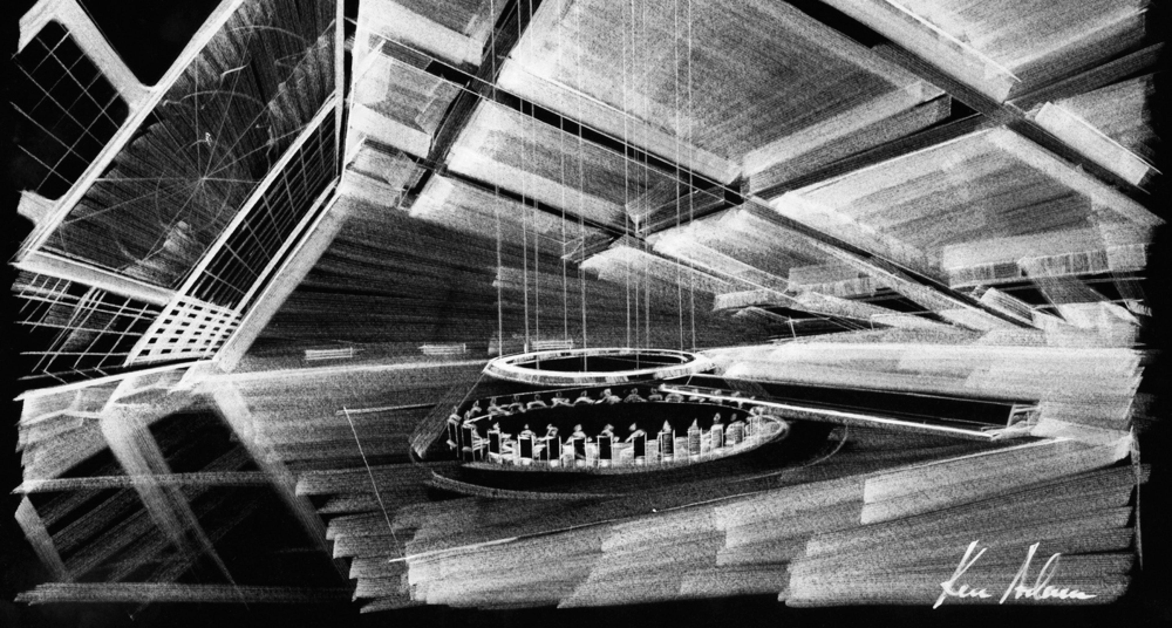 """Entwurf  """"War Room"""" (invertiert) für DR. STRANGELOVE OR: HOW I LEARNED TO STOP WORRYING AND LOVE THE BOMB GB/USA 1964, Regie: Stanley Kubrick © Sir Ken Adam Quelle: Deutsche Kinemathek – Ken Adam Archiv"""